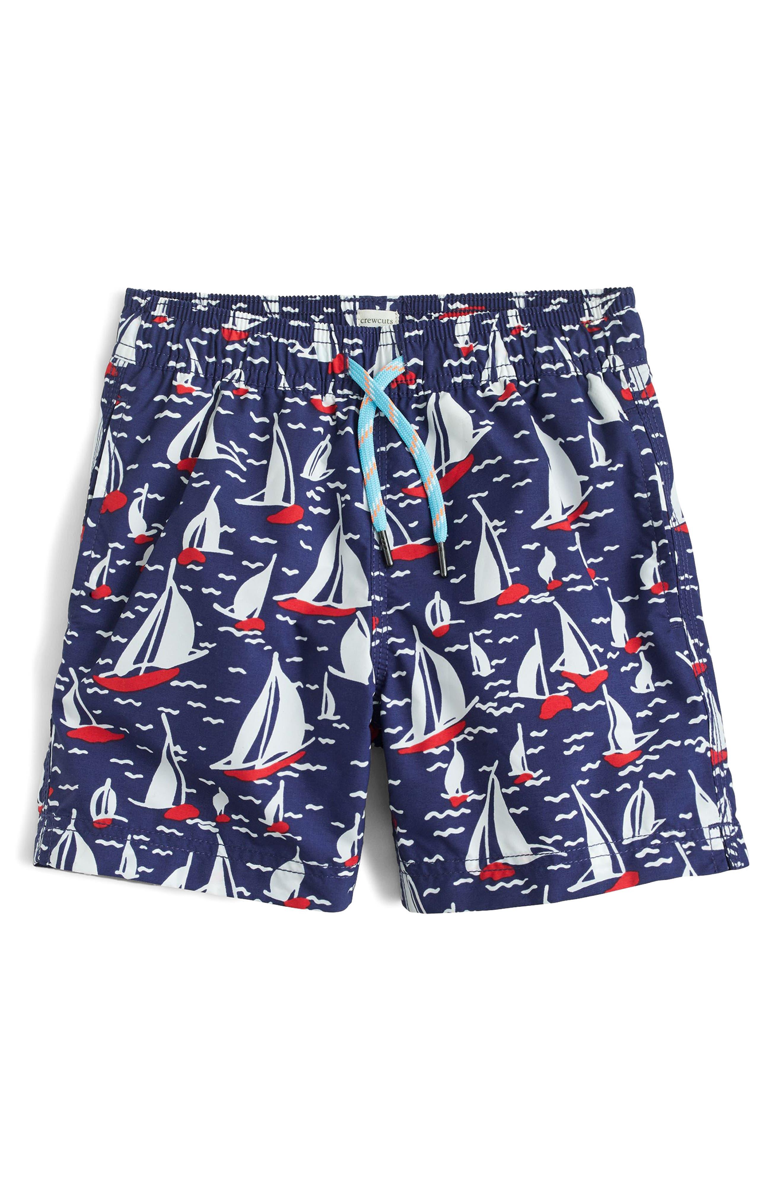 Sailboat Swim Trunks,                             Main thumbnail 1, color,                             Navy Seas