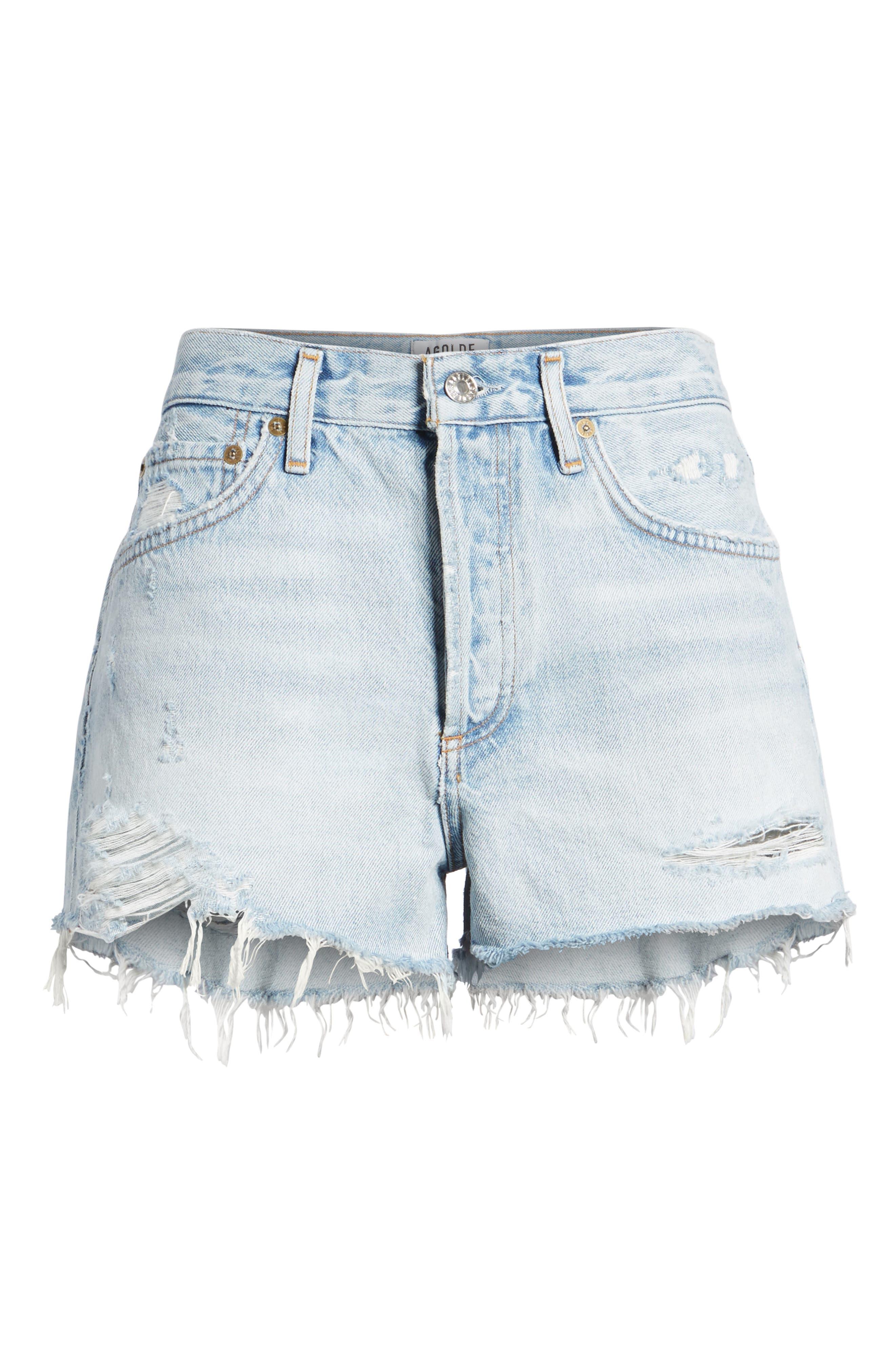 Parker Distressed Denim Shorts,                             Alternate thumbnail 6, color,                             Broken