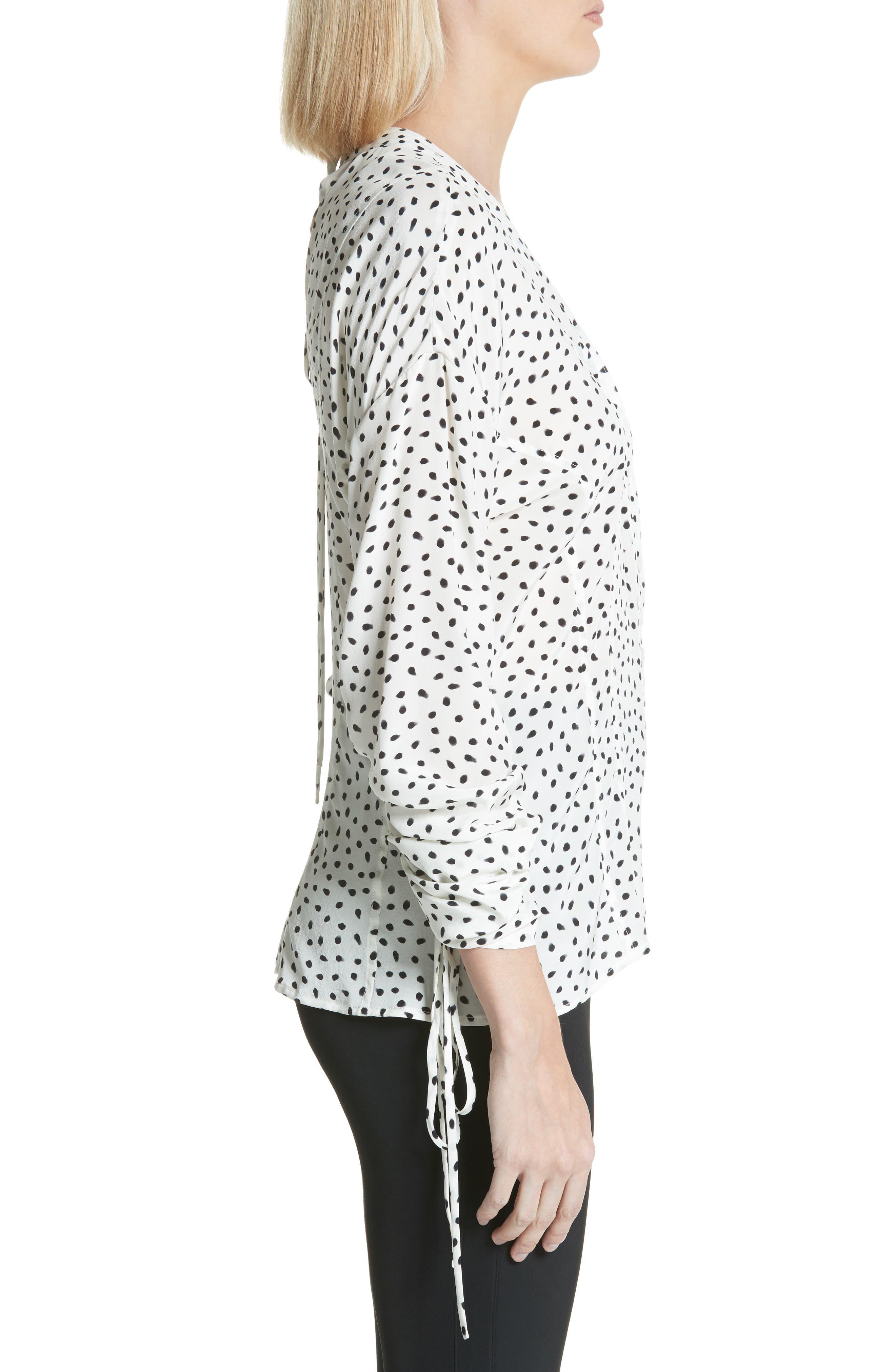Polka Dot Ruched Sleeve Silk Shirt,                             Alternate thumbnail 3, color,                             Chalk Black