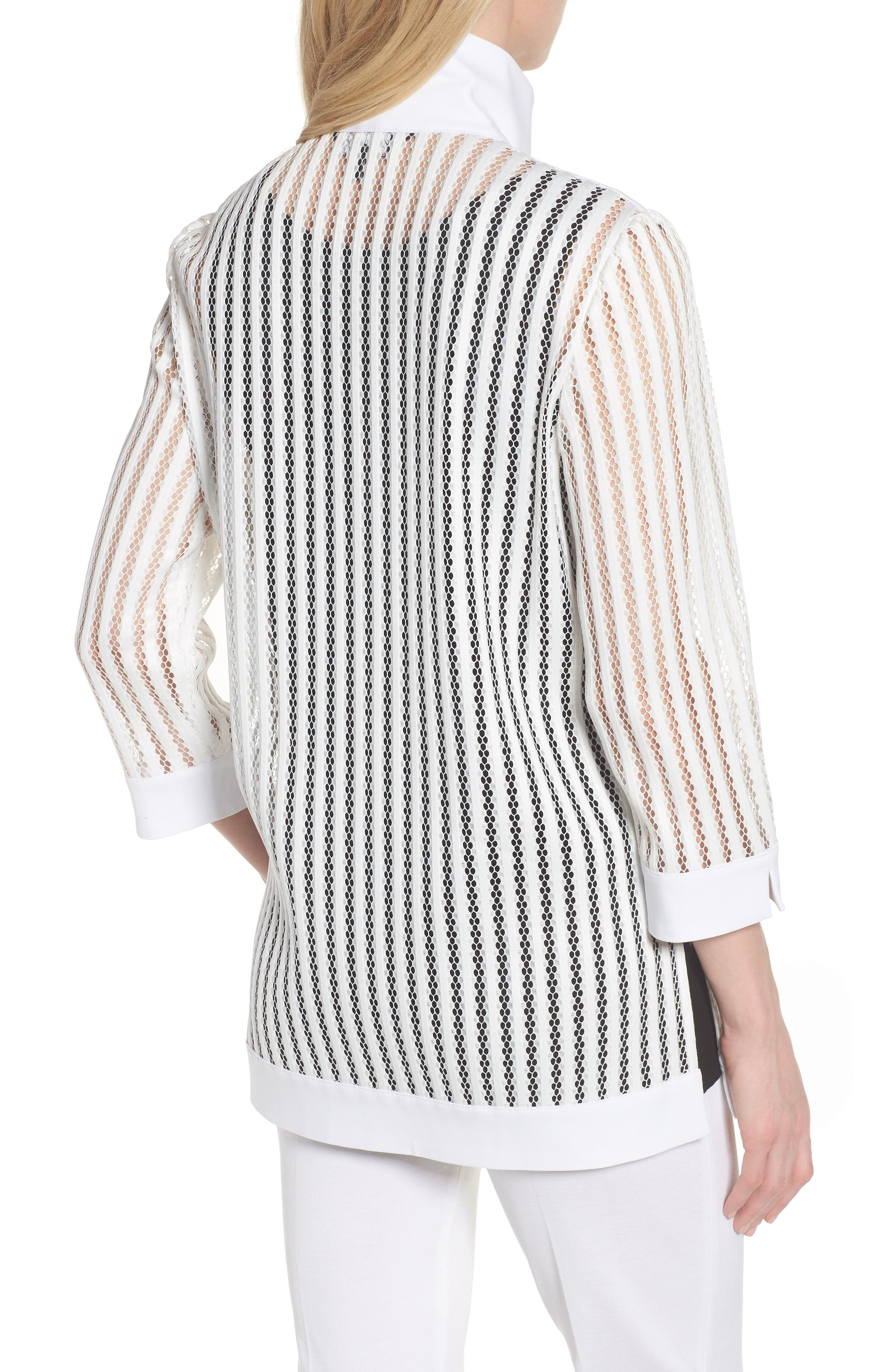 Ming Mang Open Stitch Sweater Jacket,                             Alternate thumbnail 2, color,                             White/ Black