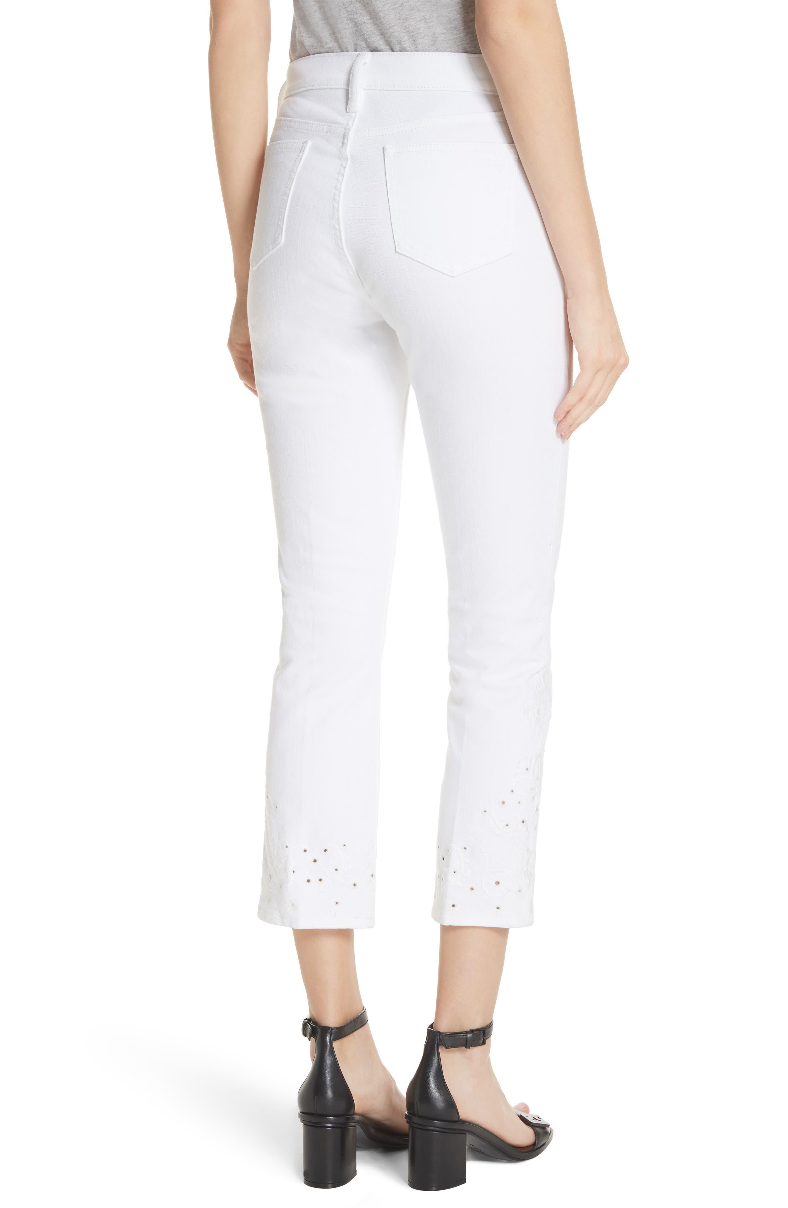 Keira Eyelet Hem Crop Jeans,                             Alternate thumbnail 2, color,                             Rinse Wash