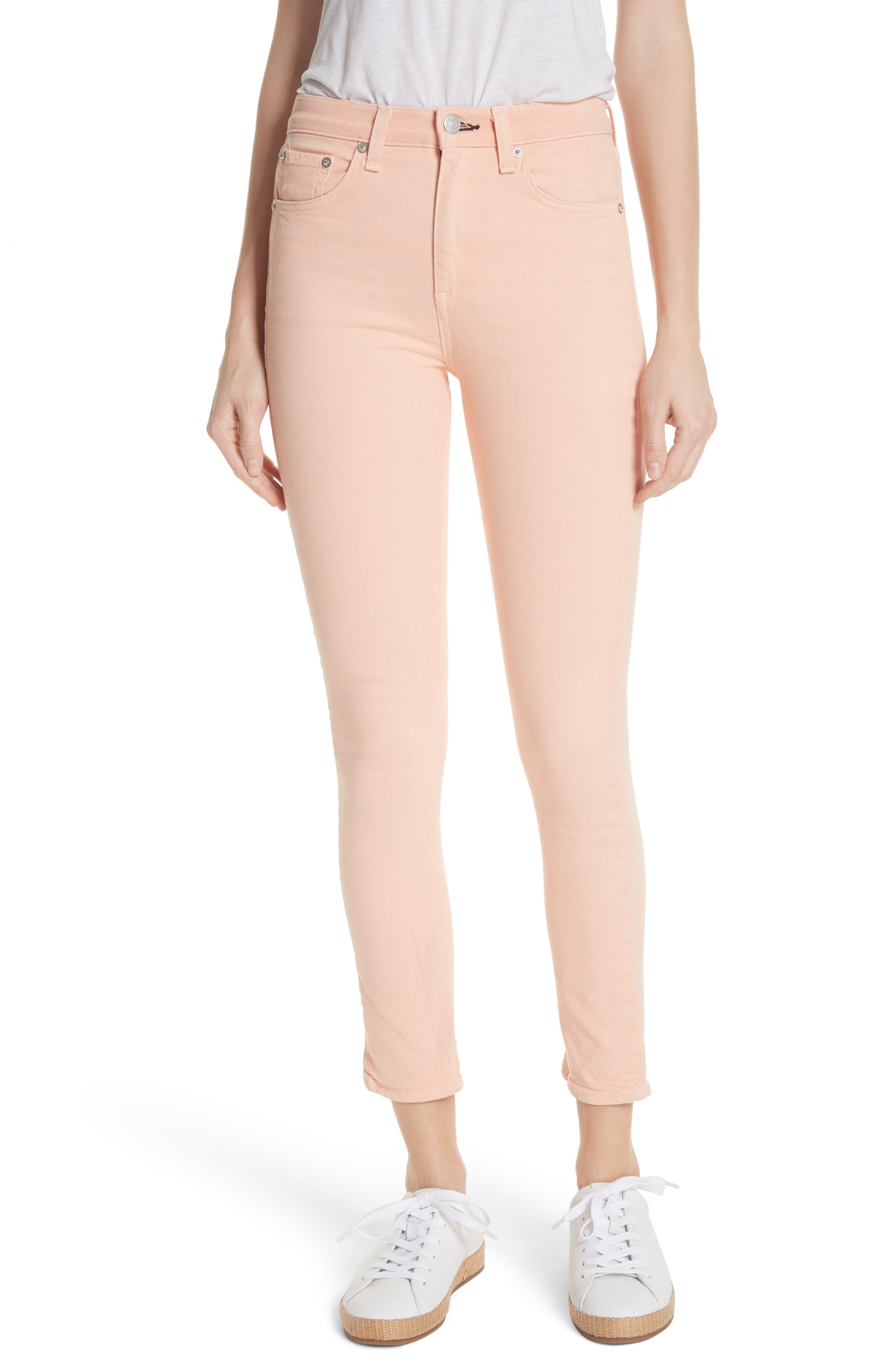 rag & bone/JEAN High Waist Ankle Skinny Jeans (Prairie Sun)