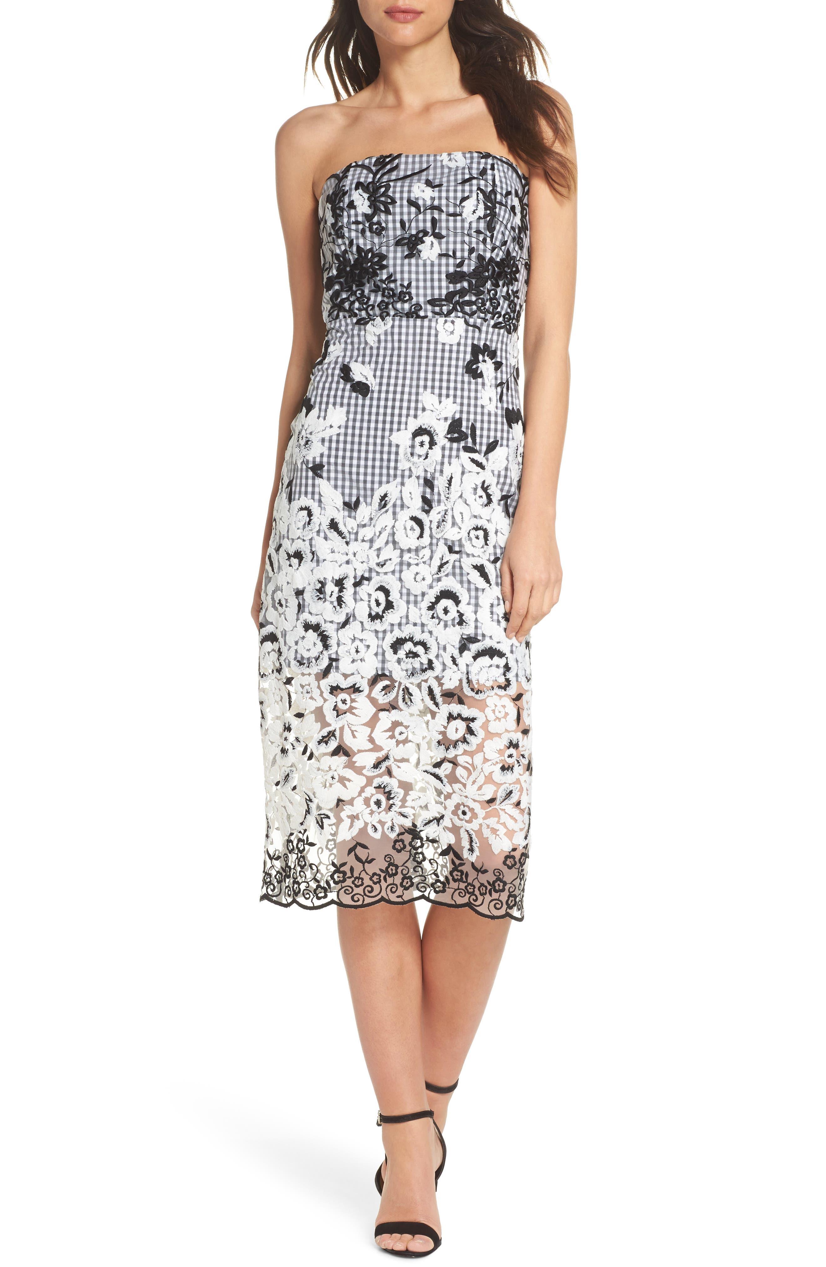Strapless Midi Dress,                         Main,                         color, Black/ White