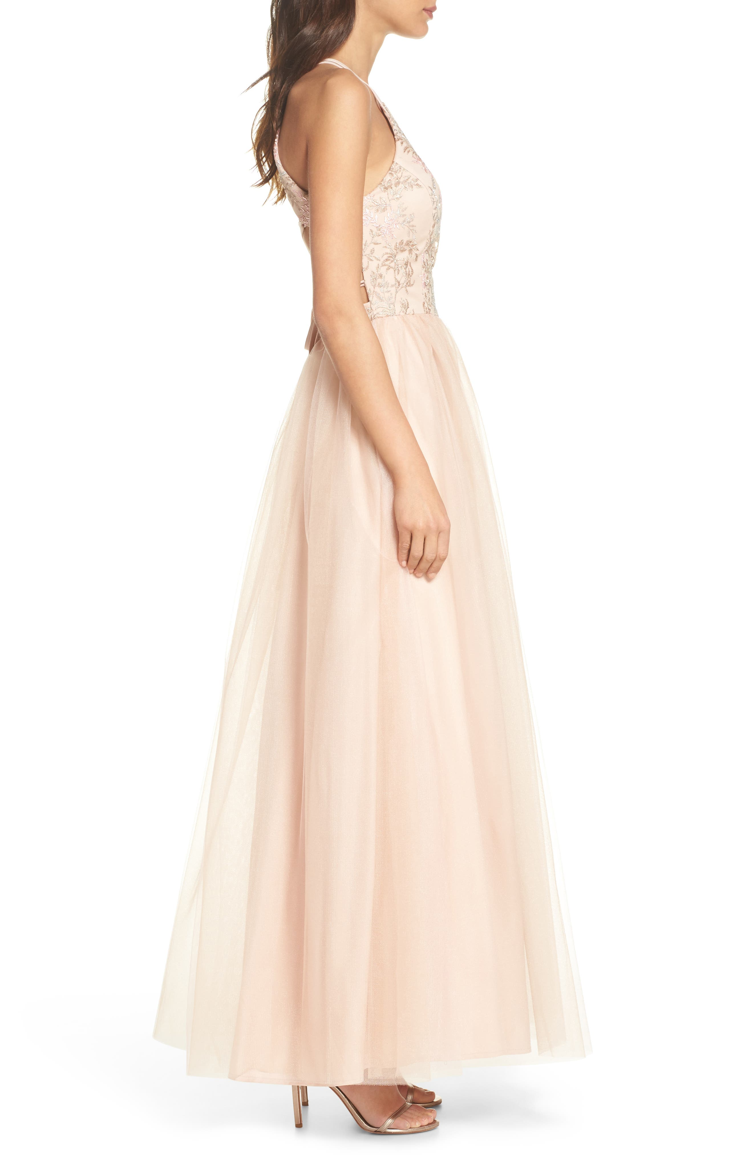 Embroidered Bodice Fit & Flare Gown,                             Alternate thumbnail 3, color,                             Blush / Nude / Pink