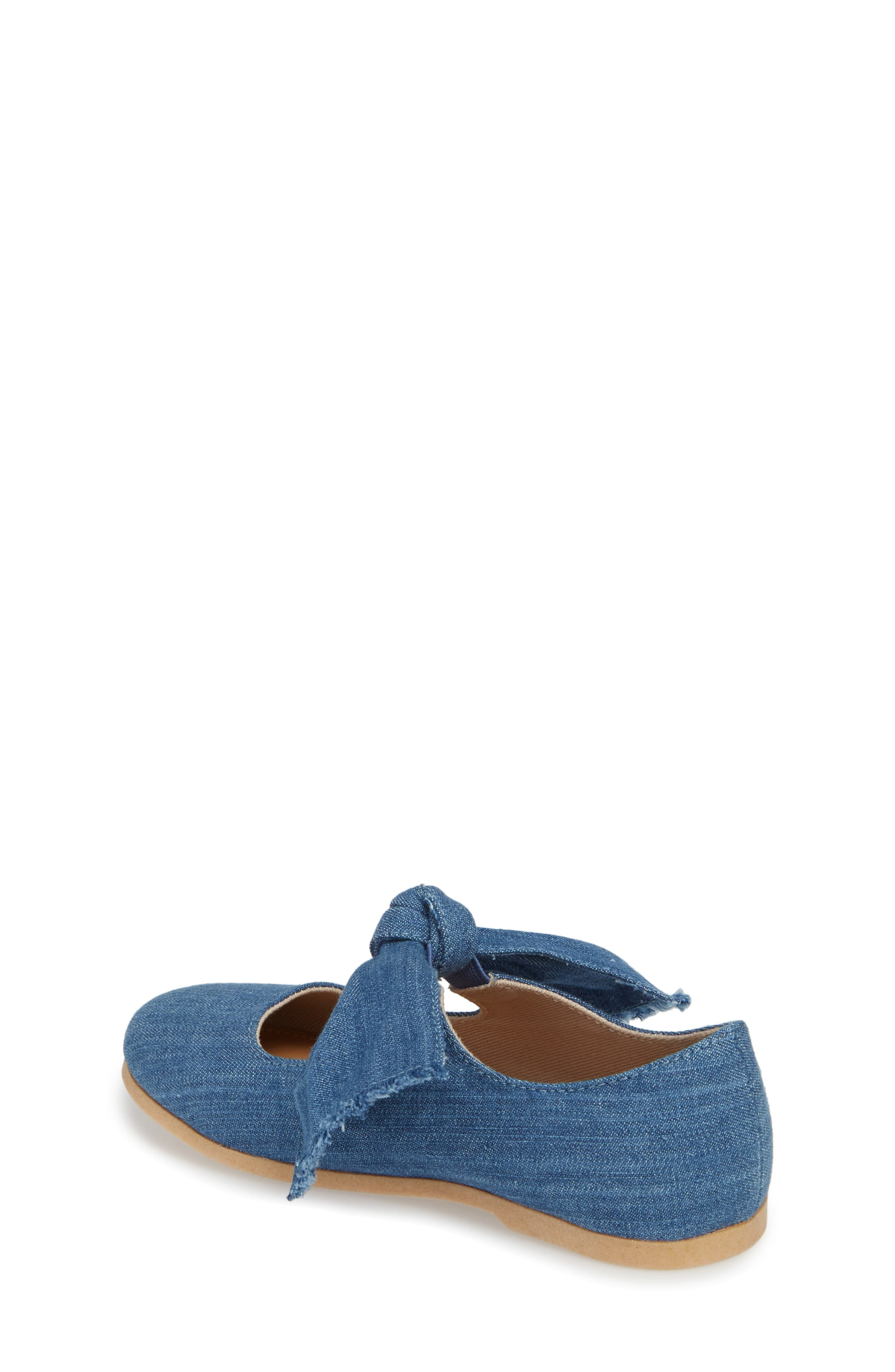 Helina Bow Mary Jane Flat,                             Alternate thumbnail 2, color,                             Chambray Fabric