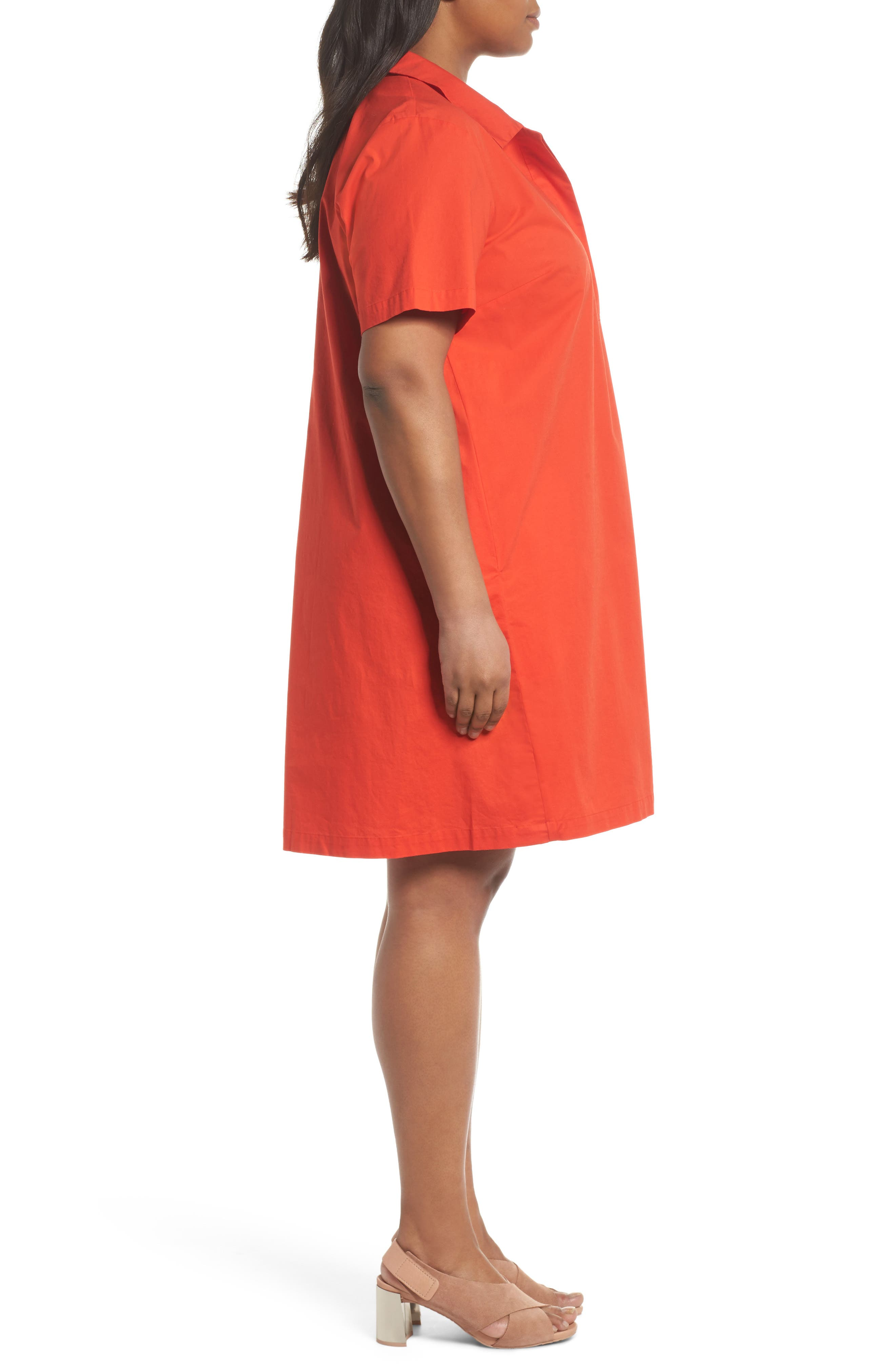 Alternate Image 3  - Eileen Fisher Collared Shift Dress (Plus Size)