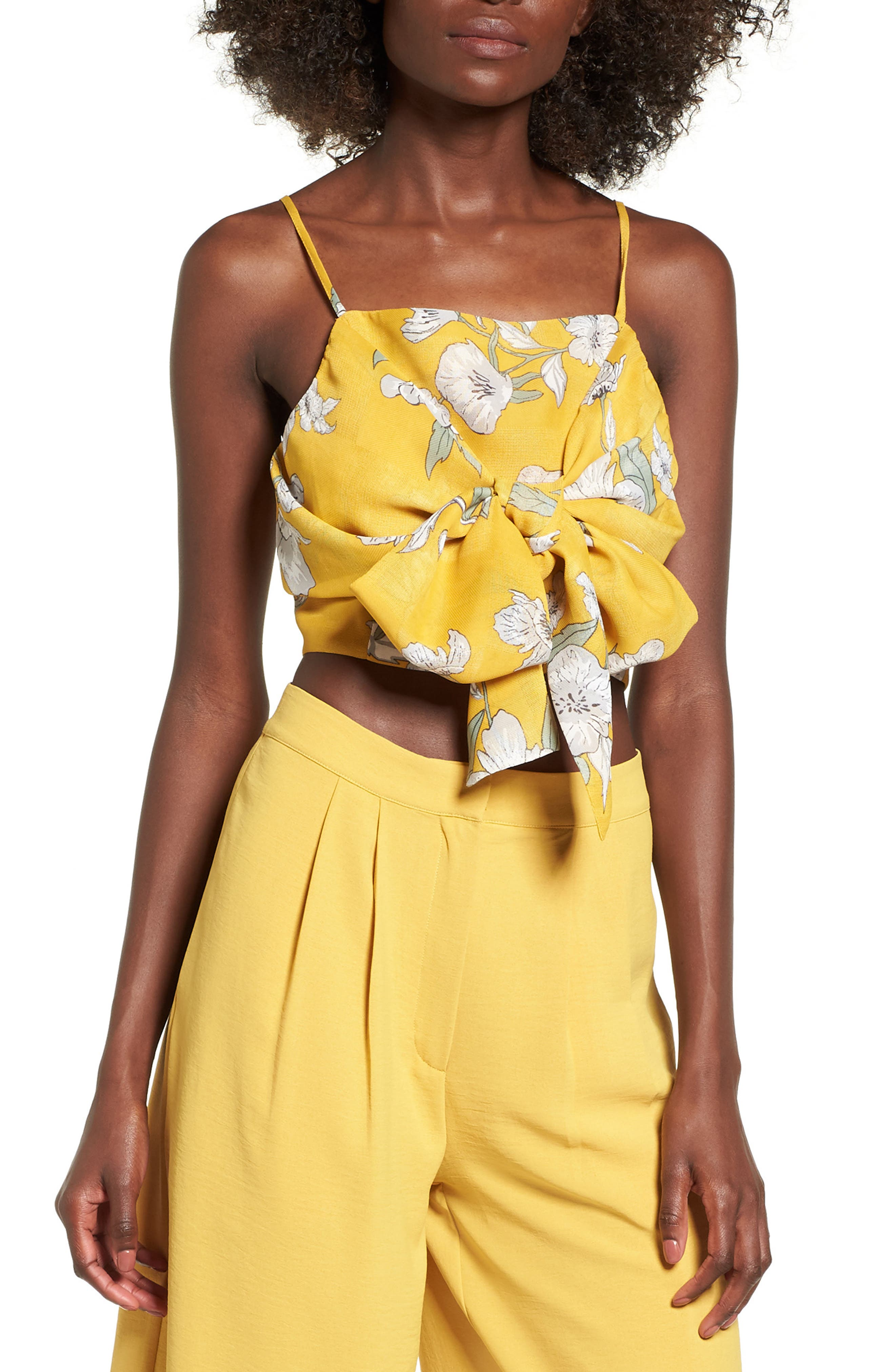 Chriselle x J.O.A. Tie Front Crop Top,                             Main thumbnail 1, color,                             Quince Blossom