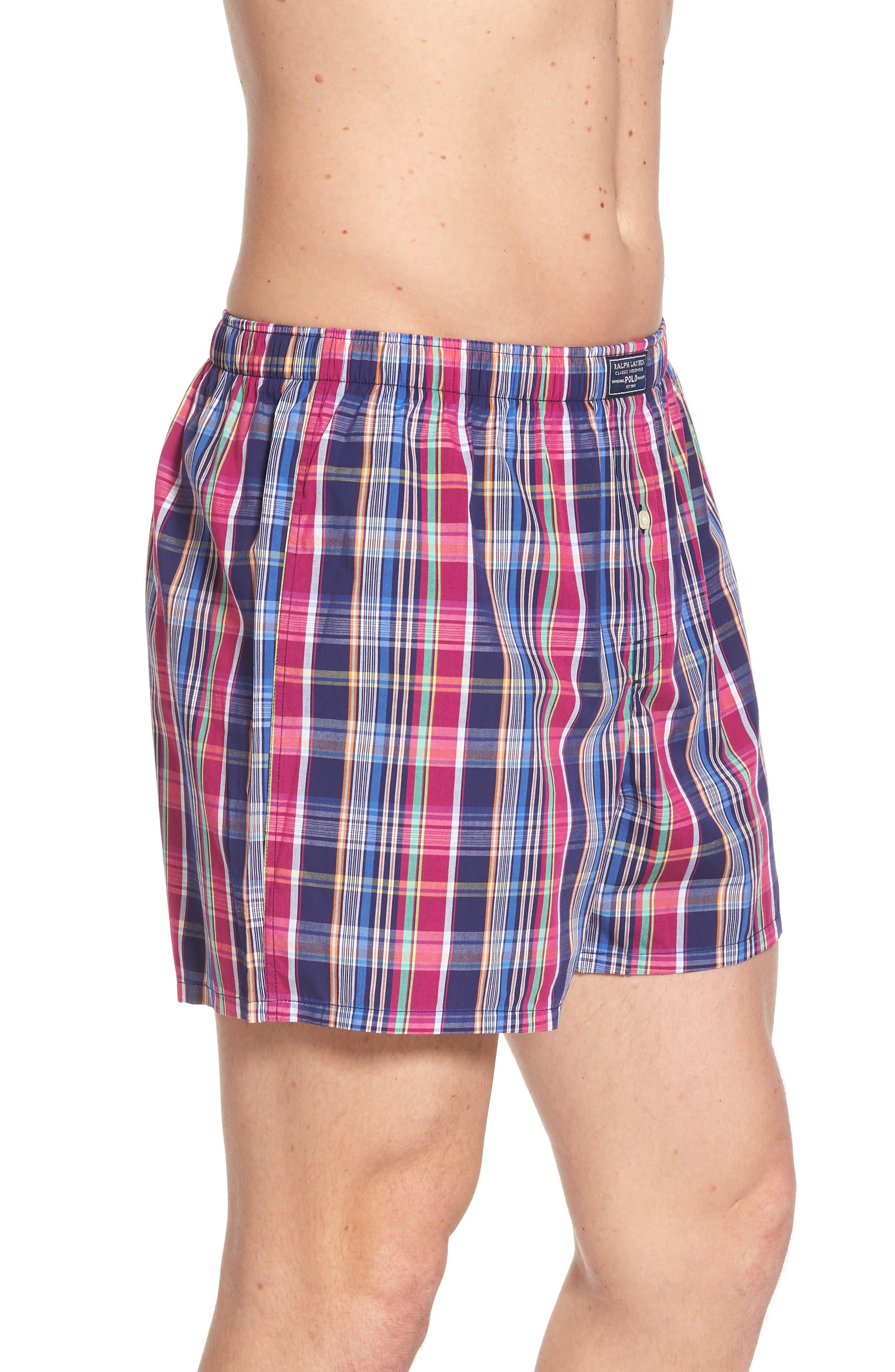 Woven Cotton Boxers,                             Alternate thumbnail 3, color,                             Collin Plaid/ Bright Pink