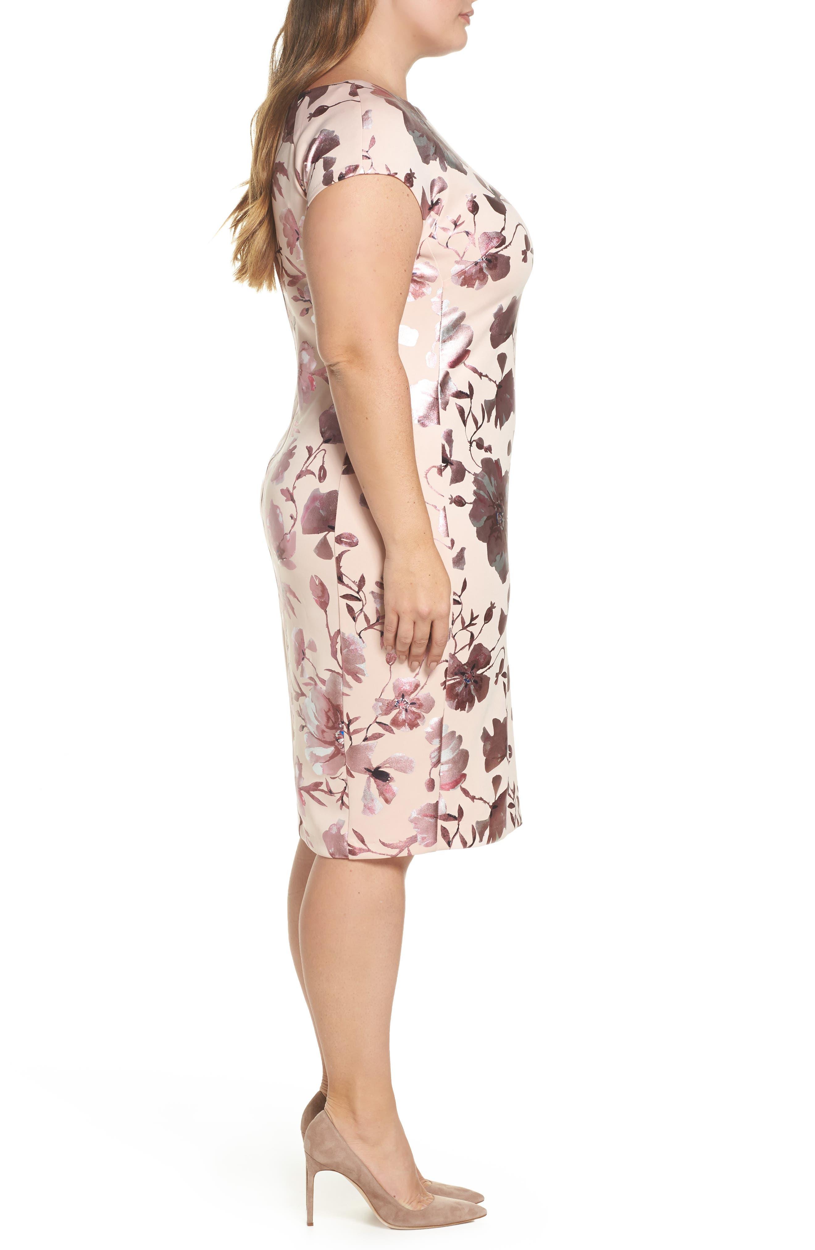 Foil Print Sheath Dress,                             Alternate thumbnail 3, color,                             Pink