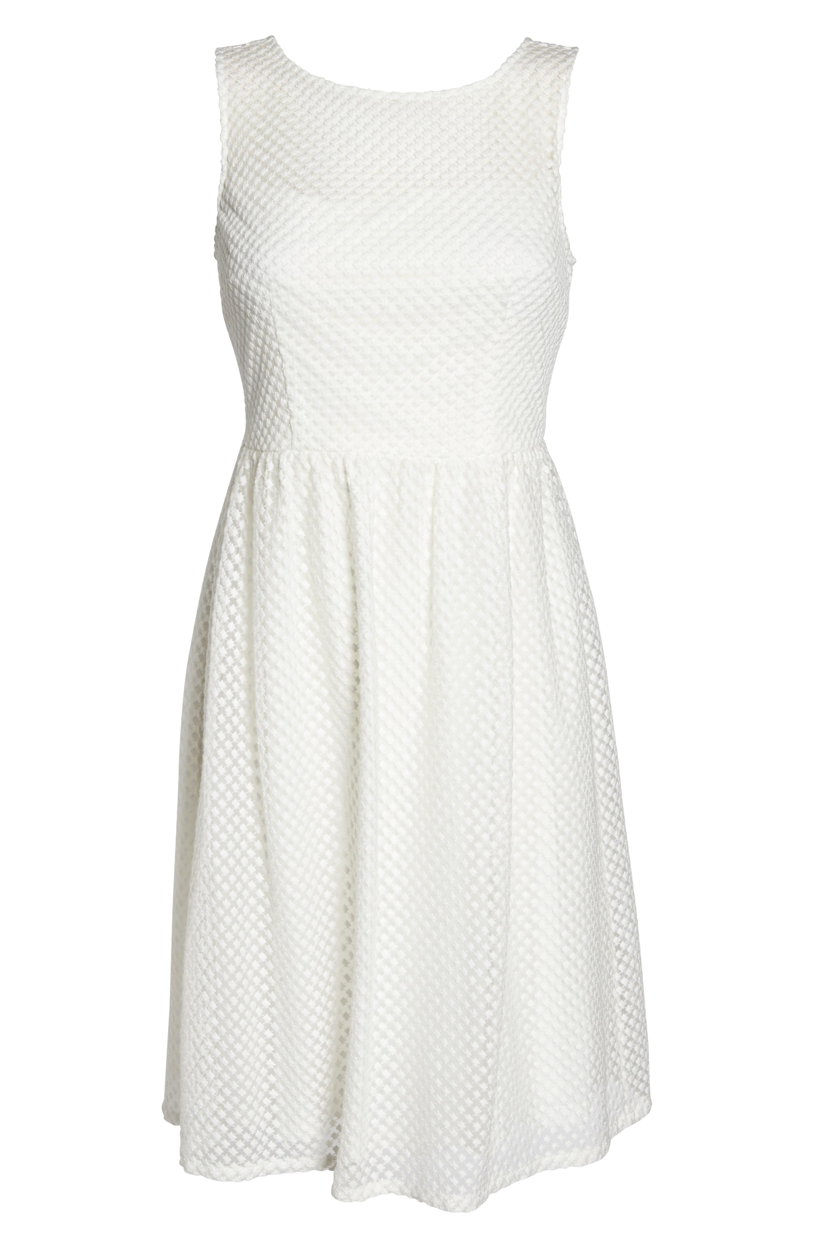 Embroidered Diamonds Fit & Flare Dress,                             Alternate thumbnail 6, color,                             Ivory