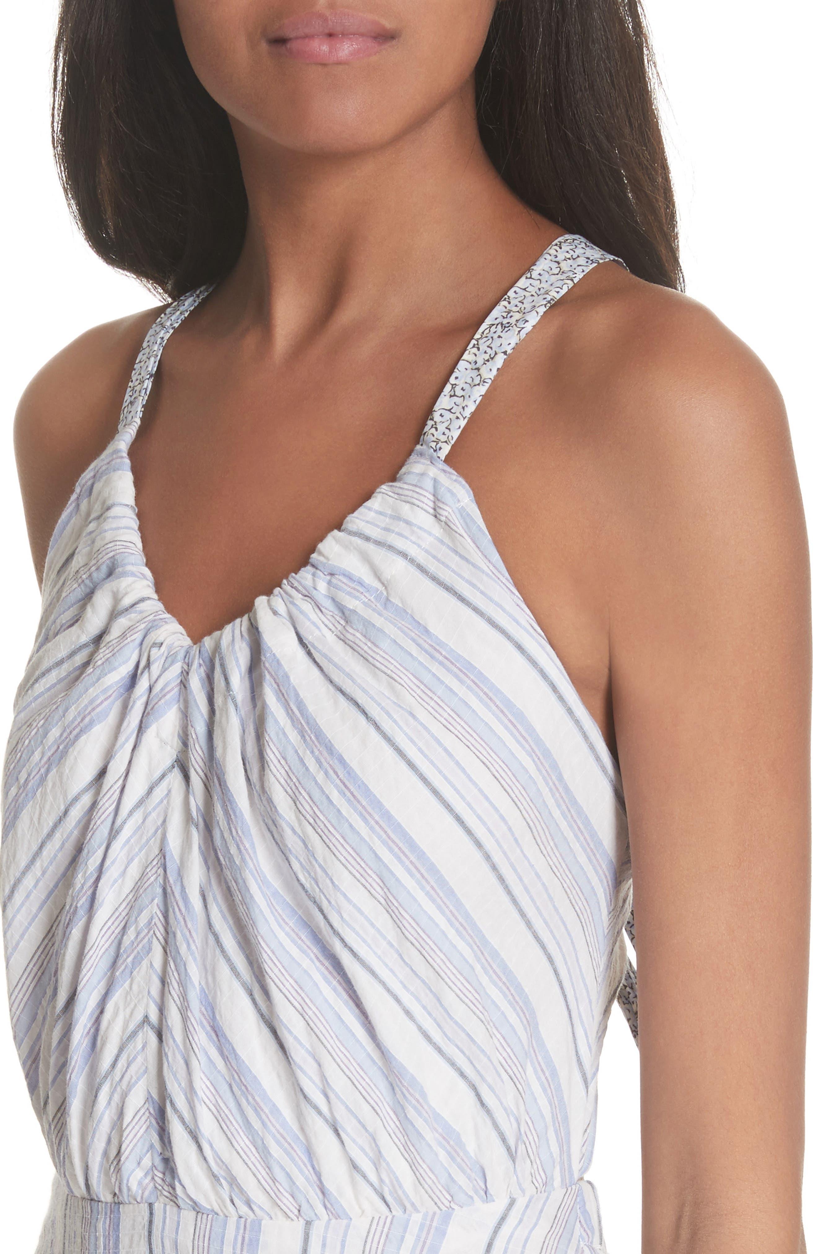 Leila Stripe Midi Dress,                             Alternate thumbnail 4, color,                             Iris Combo