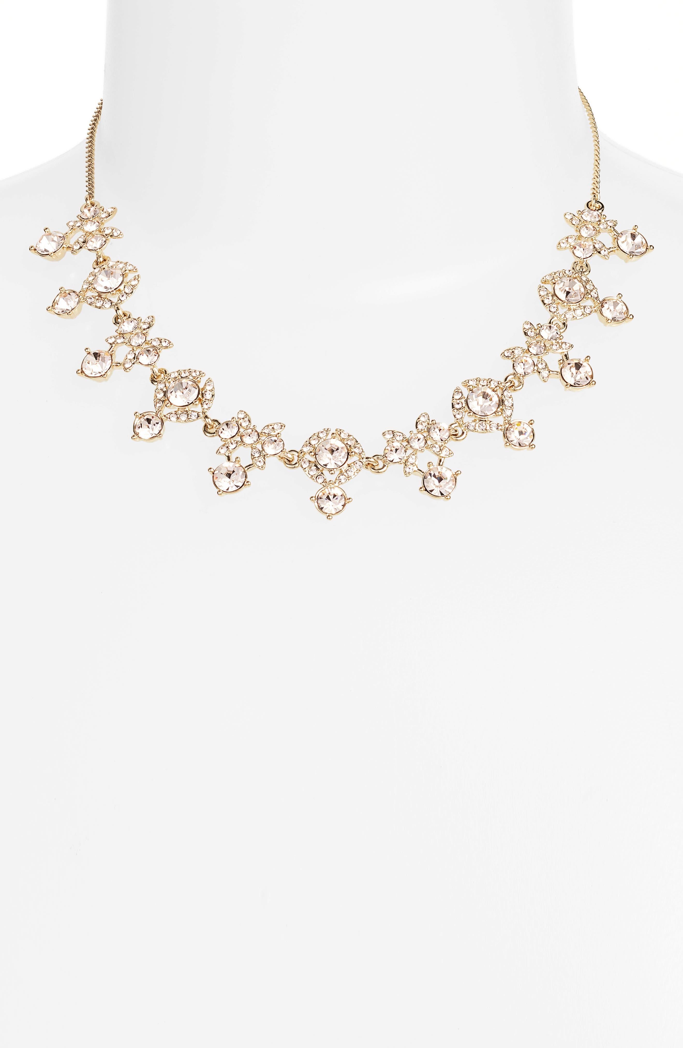 Crystal Necklace,                             Main thumbnail 1, color,                             Gold/ Silk