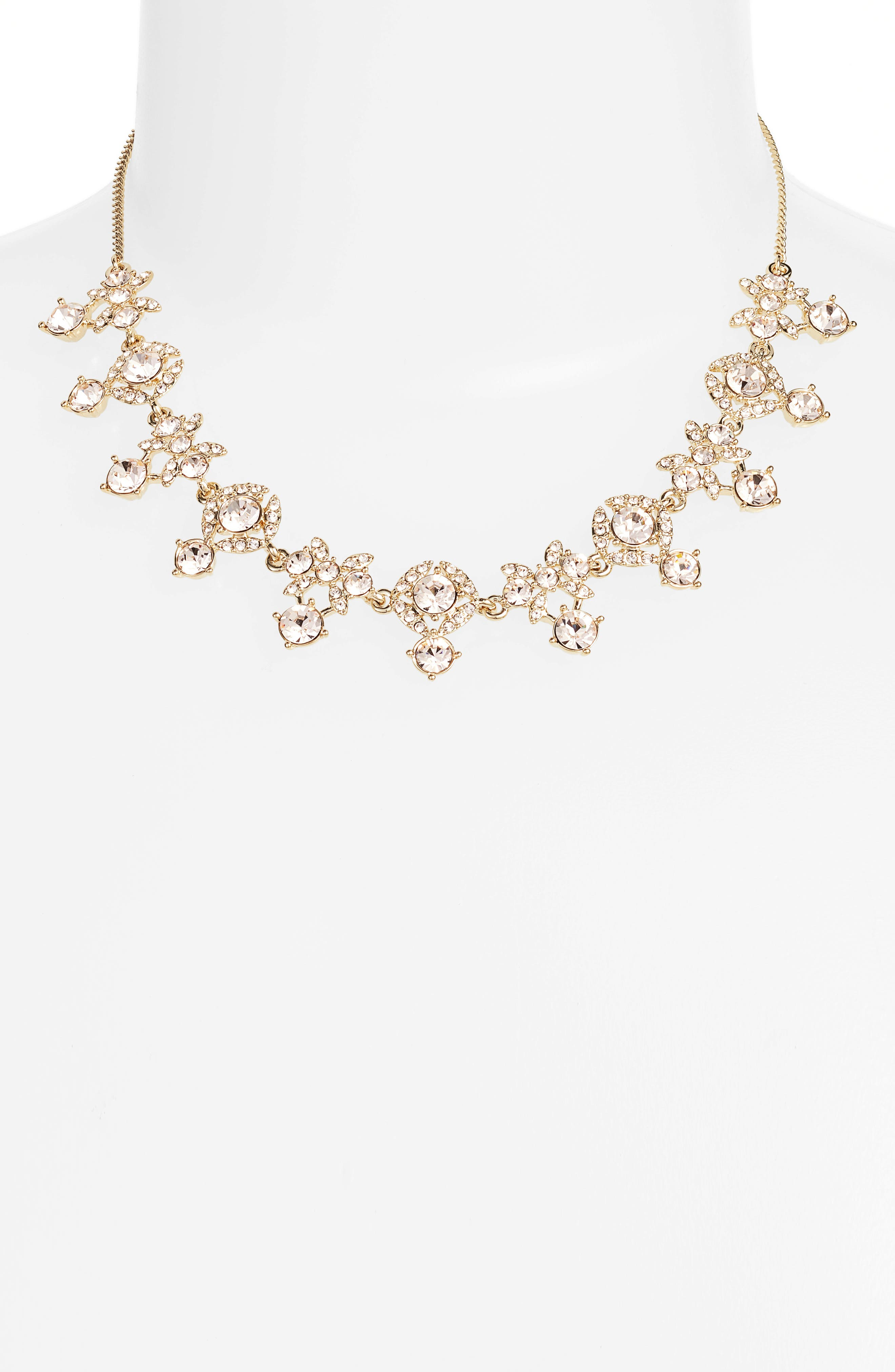 Crystal Necklace,                         Main,                         color, Gold/ Silk