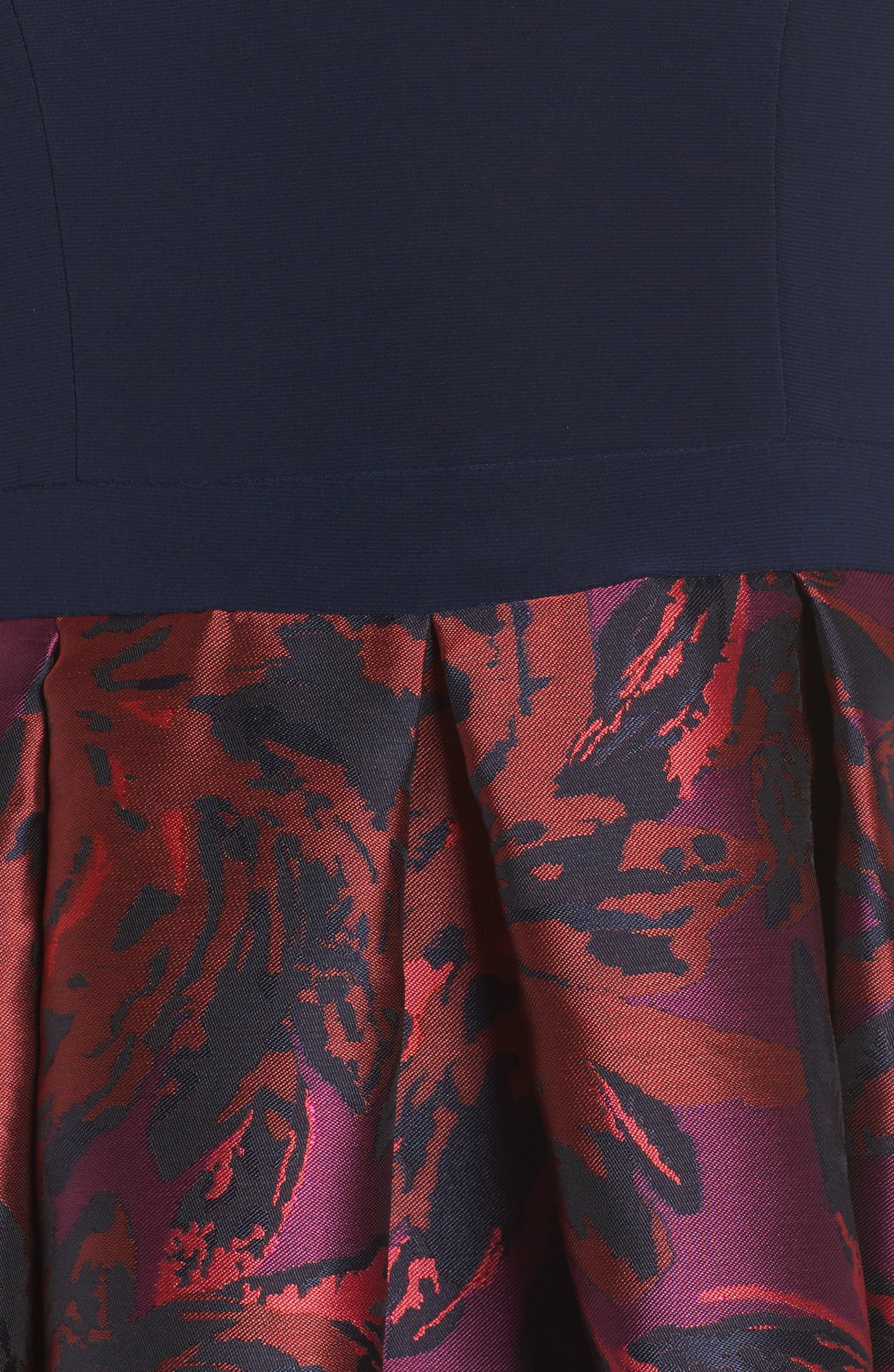 Cold Shoulder Fit & Flare Dress,                             Alternate thumbnail 5, color,                             Navy/ Wine