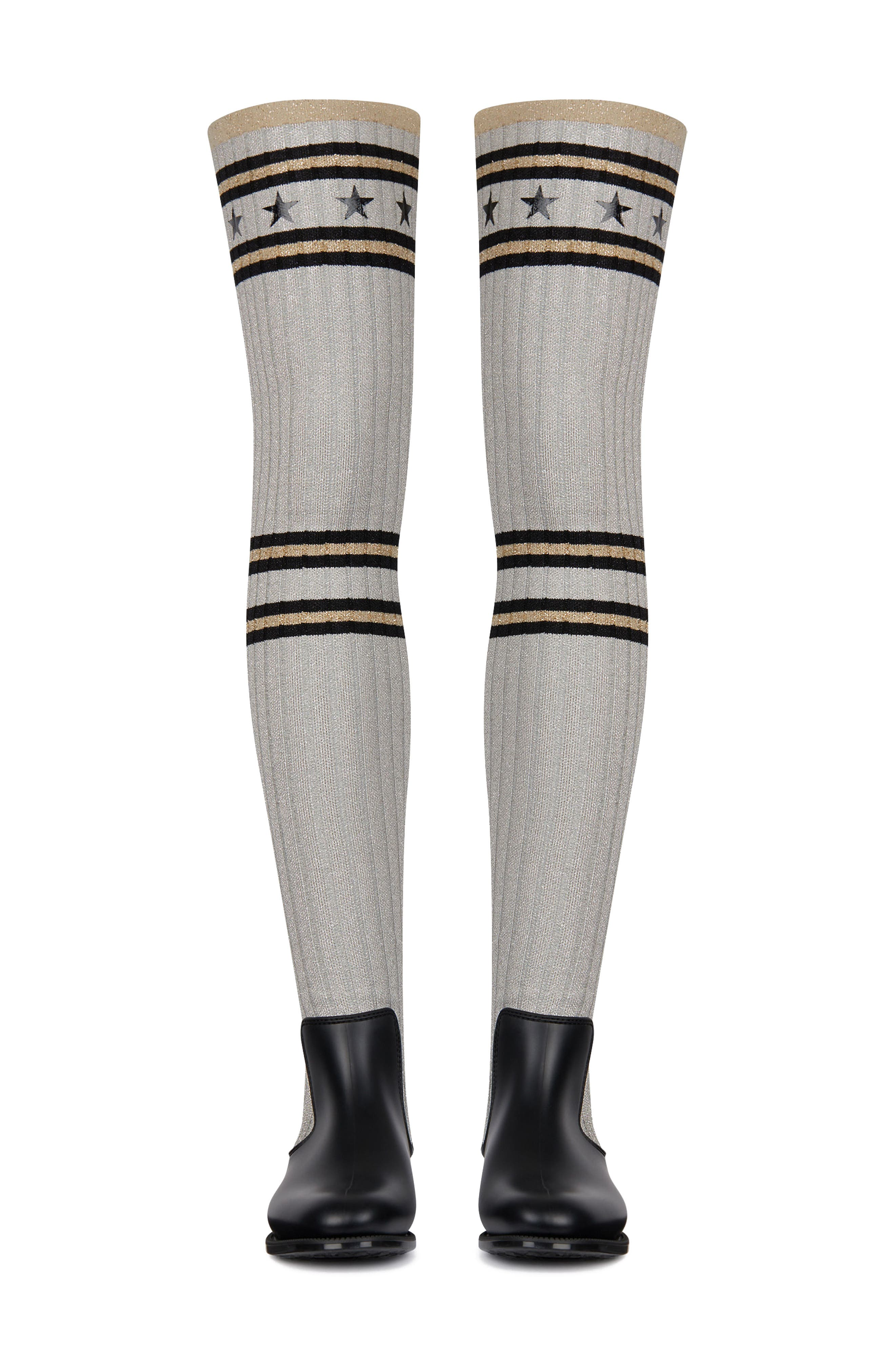 Storm Over the Knee Rain Boot,                         Main,                         color, Grey/ Silver/ Gold