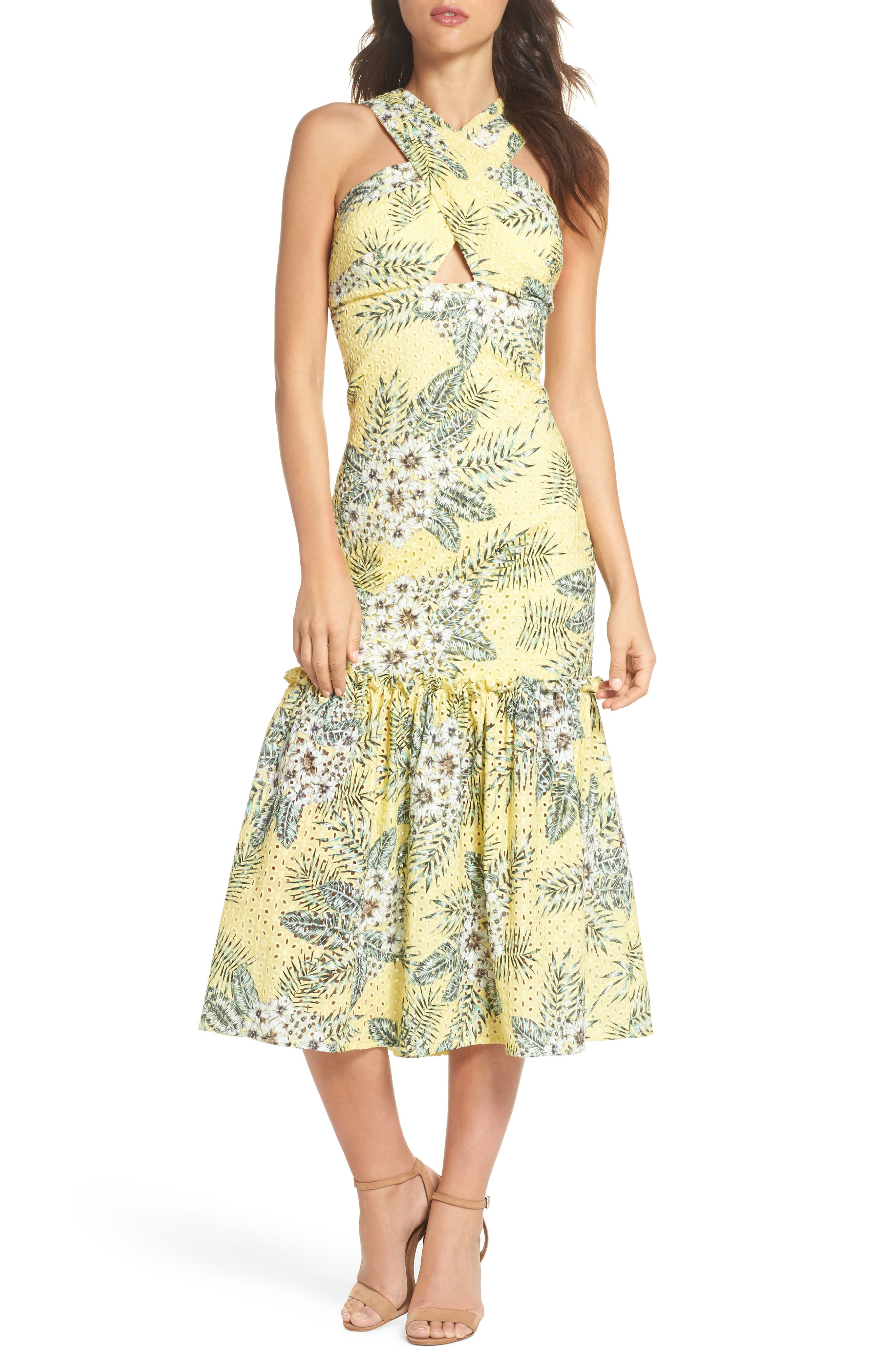 Alternate Image 1 Selected - BB Dakota Sarafina Printed Eyelet Halter Dress