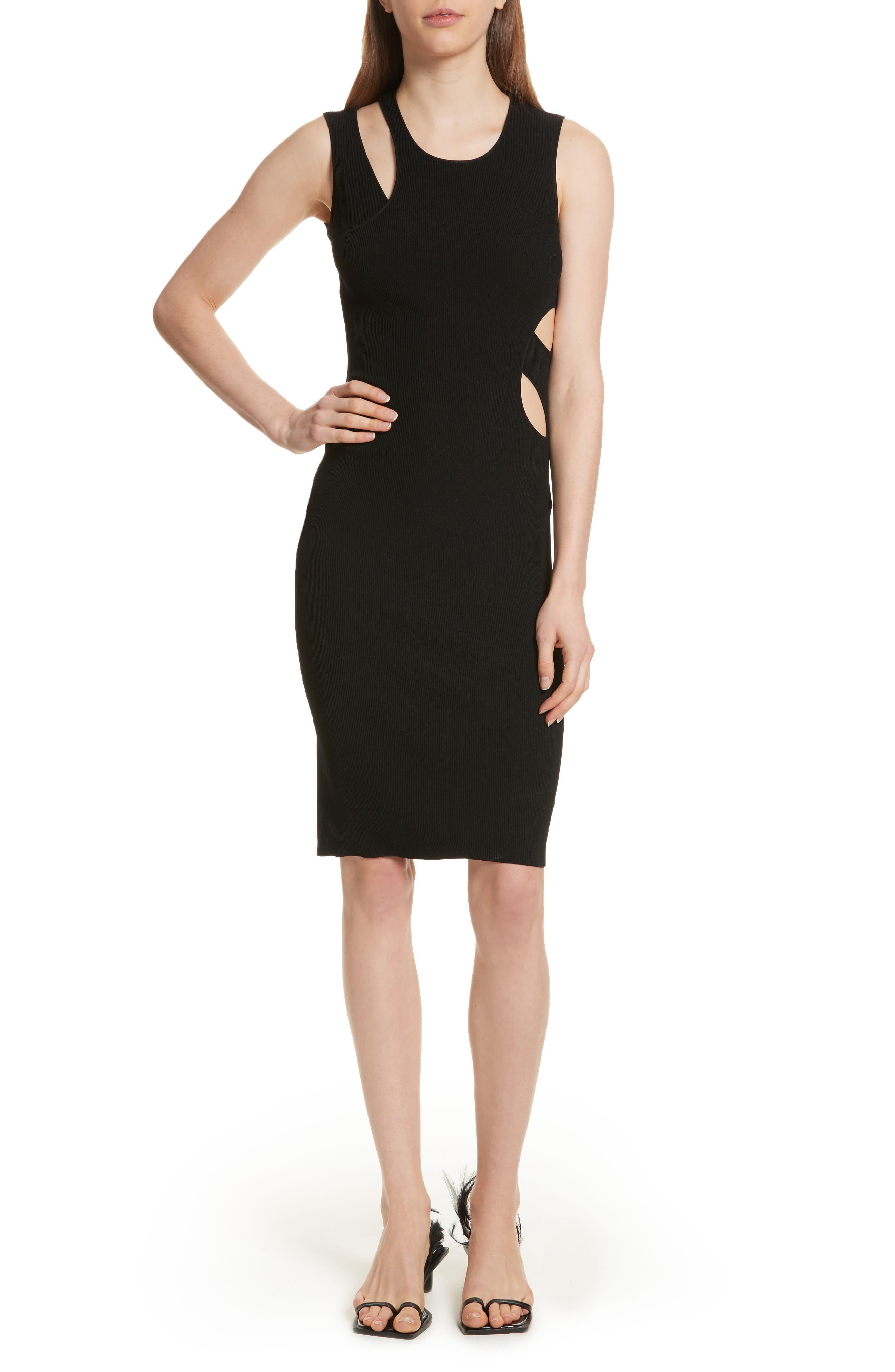 Slash Layered Tank Dress,                             Main thumbnail 1, color,                             Black