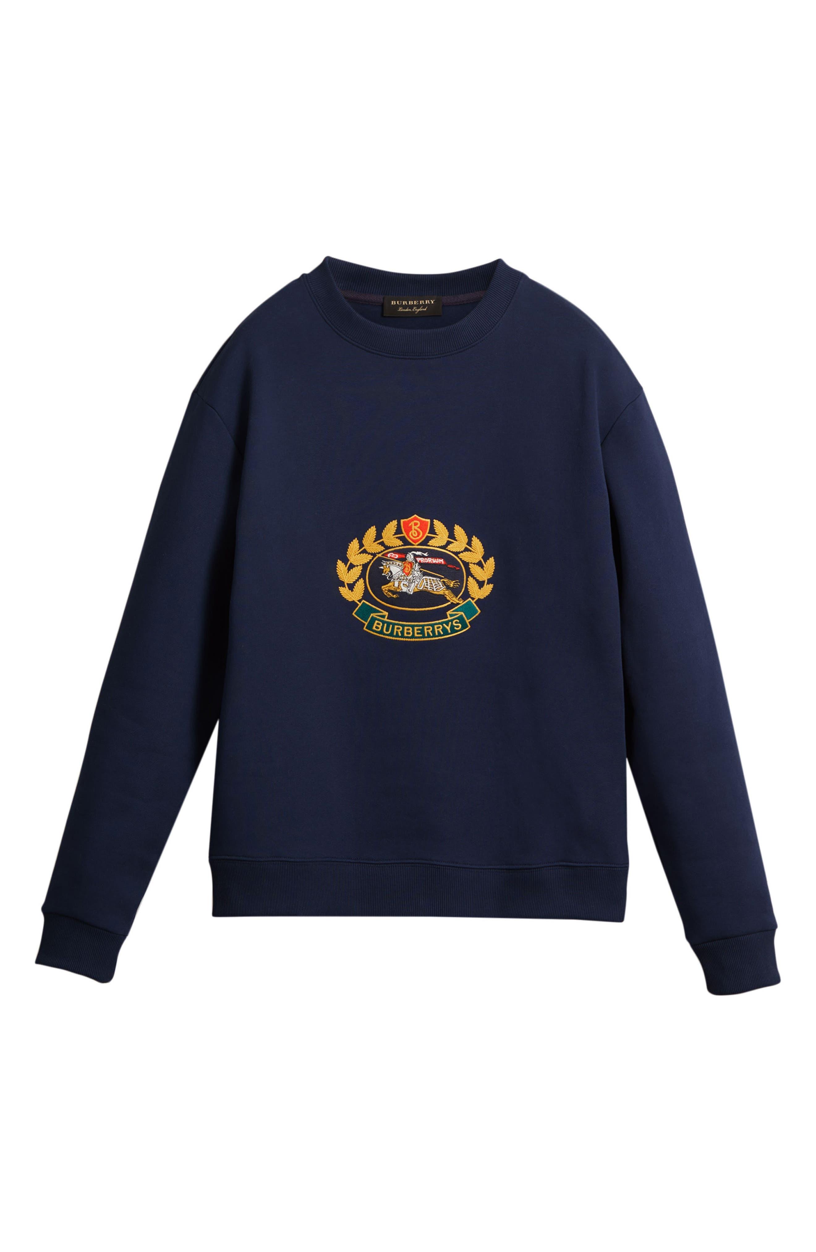Vintage Crest Sweatshirt,                             Alternate thumbnail 4, color,                             Midnight Blue