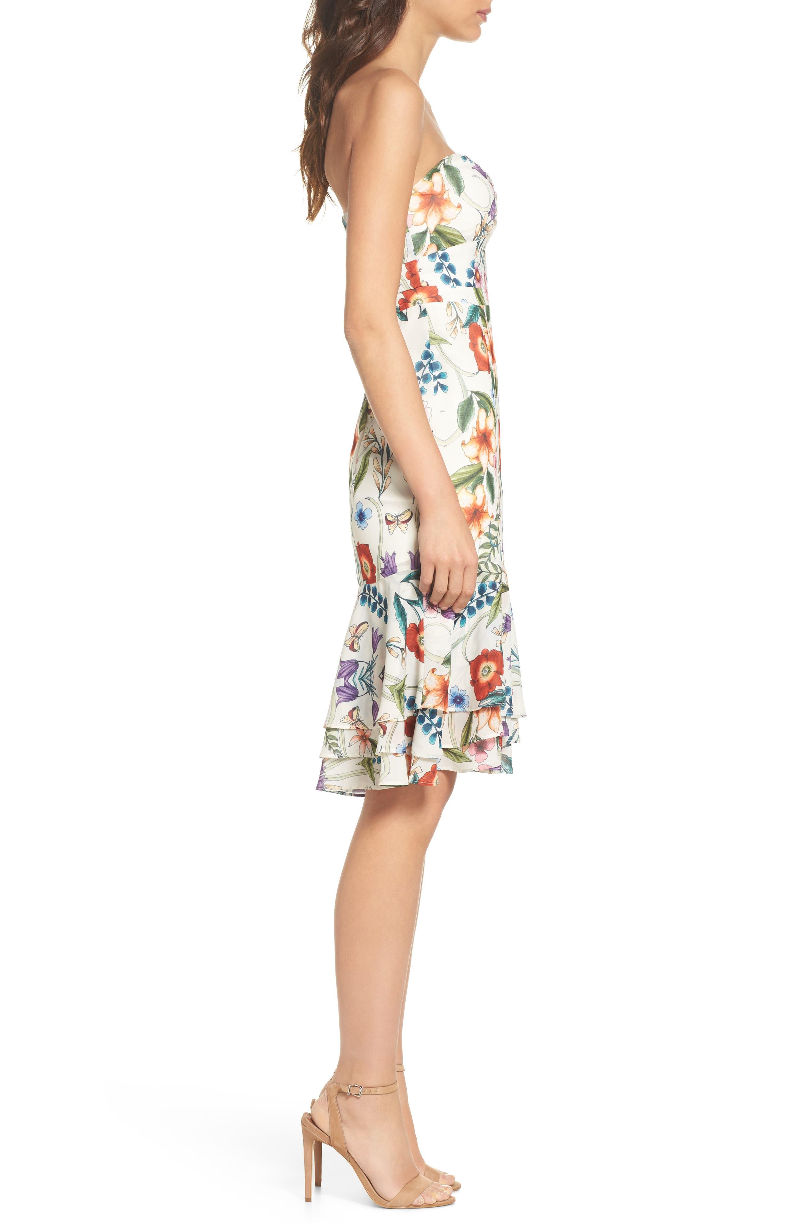 Gardenia Strapless Dress,                             Alternate thumbnail 3, color,                             Print