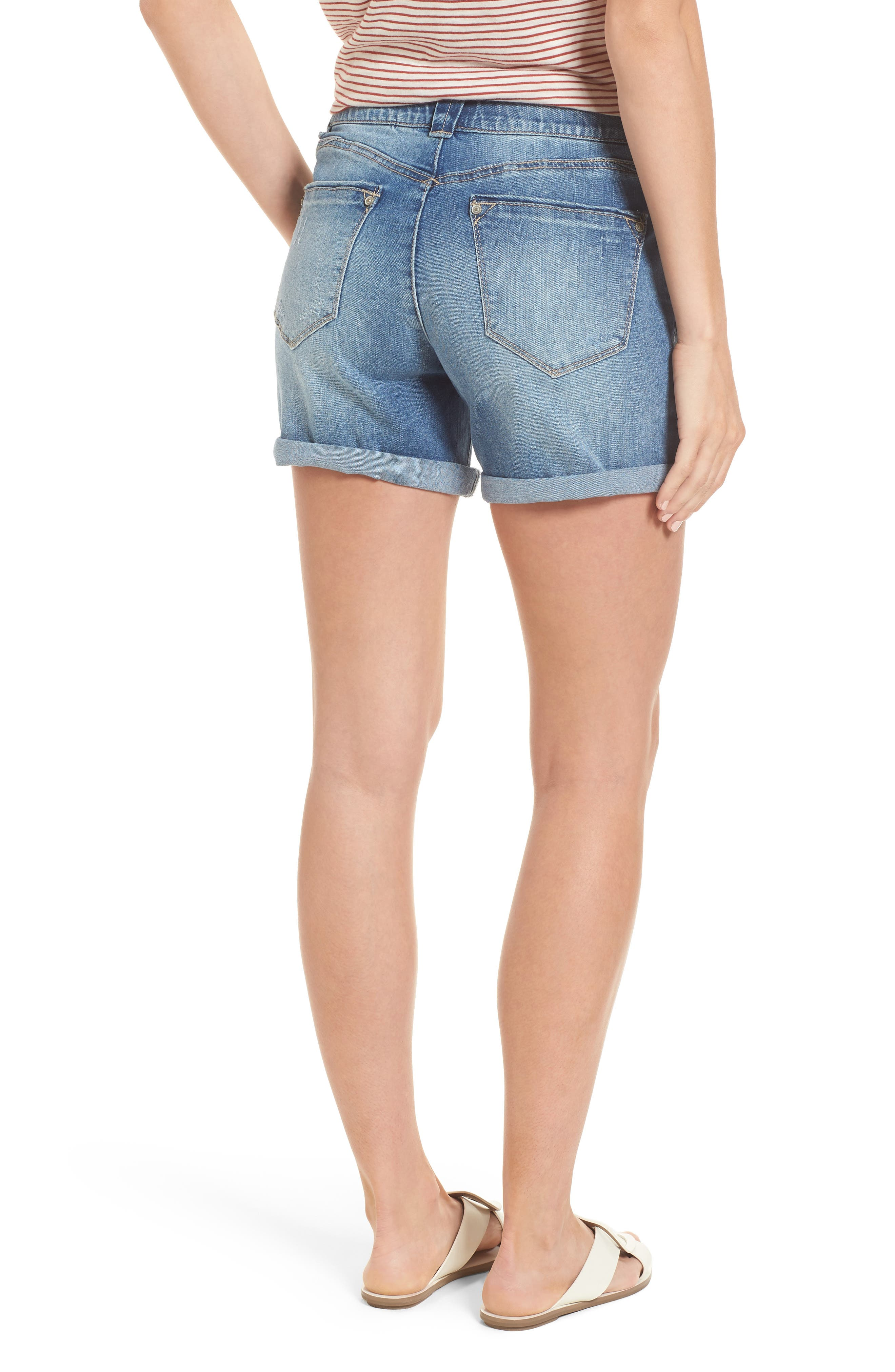 Ab-solution Denim Shorts,                             Alternate thumbnail 2, color,                             Light Blue
