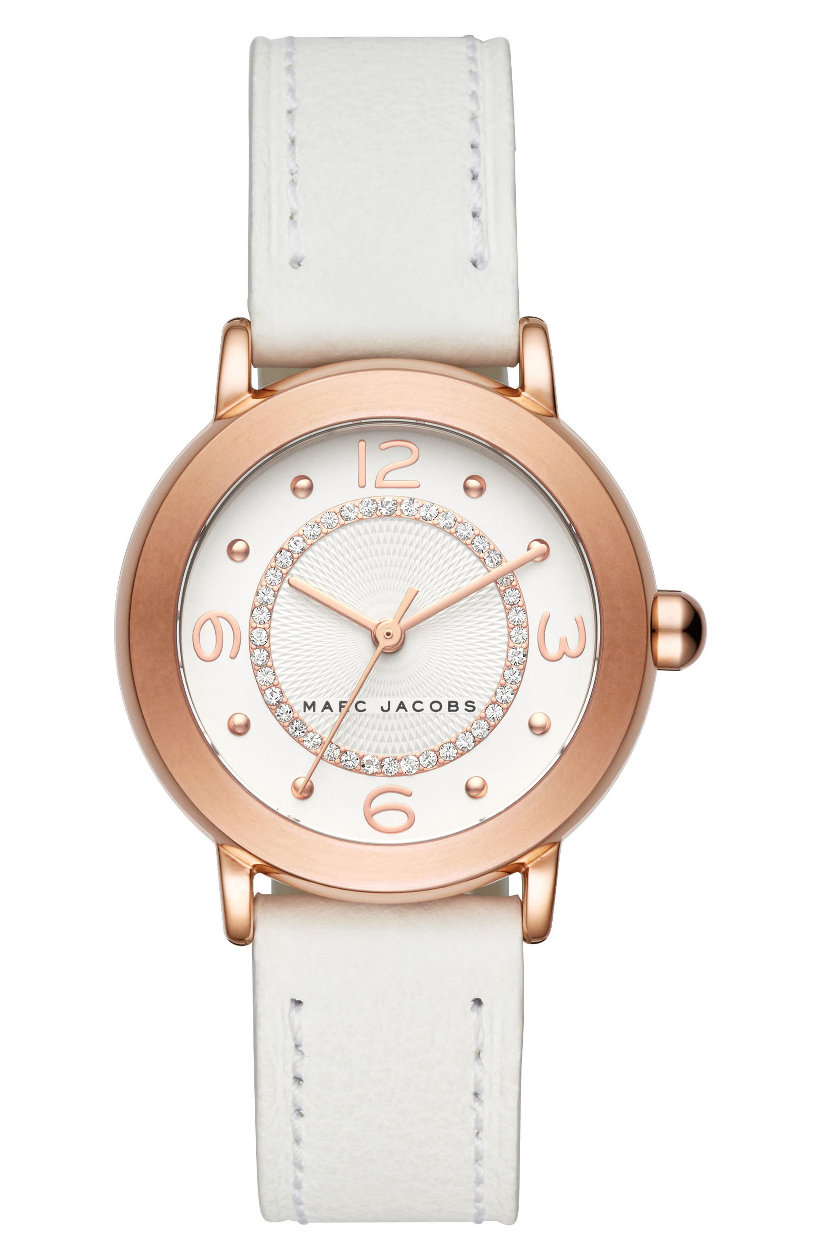 Riley Leather Strap Watch, 29mm,                         Main,                         color, White/ Rose Gold