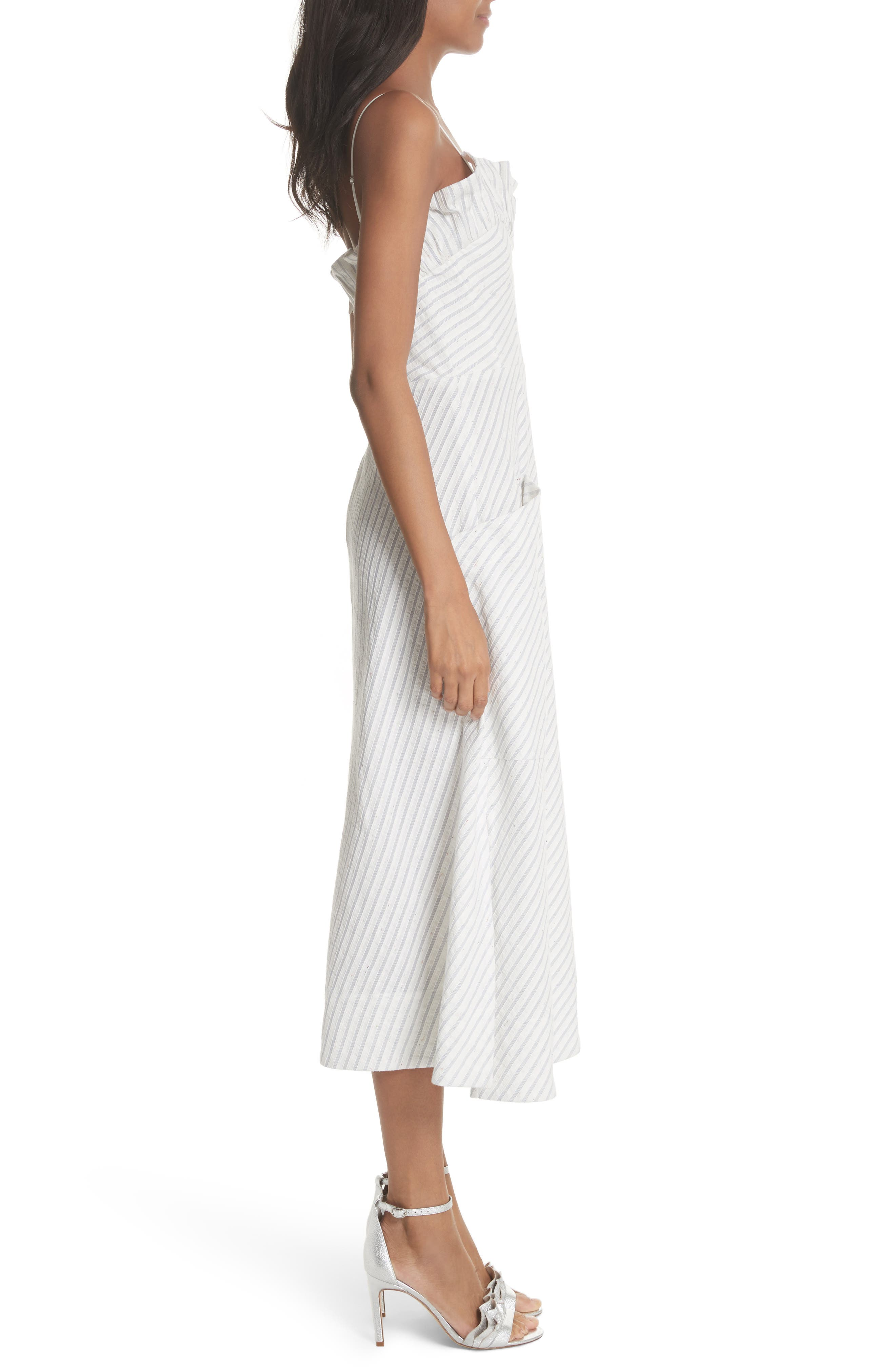 Ruffled Stripe Midi Dress,                             Alternate thumbnail 3, color,                             Blue Combo