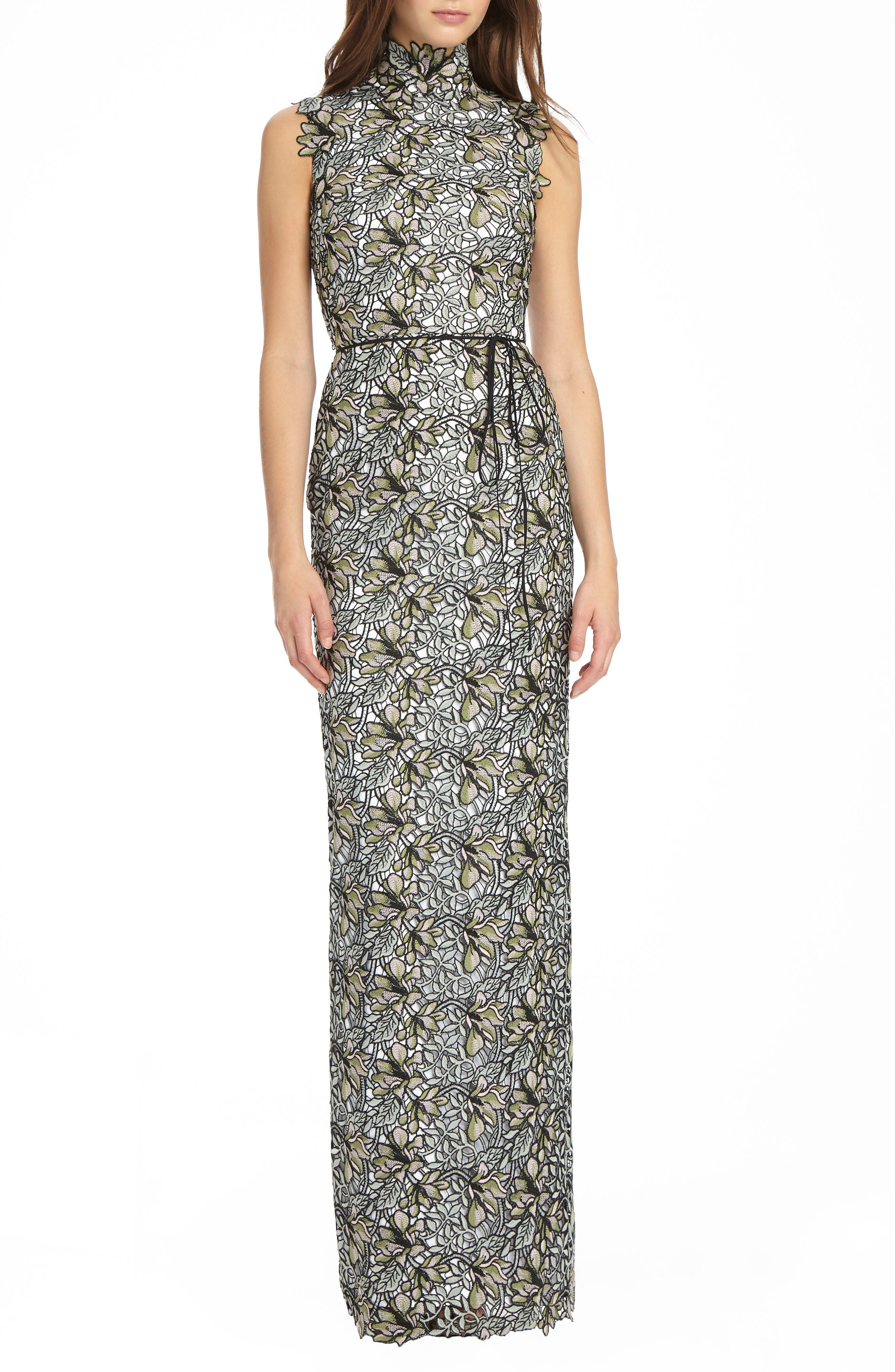 ML Monique Lhuillier Lace Mock Neck Column Gown