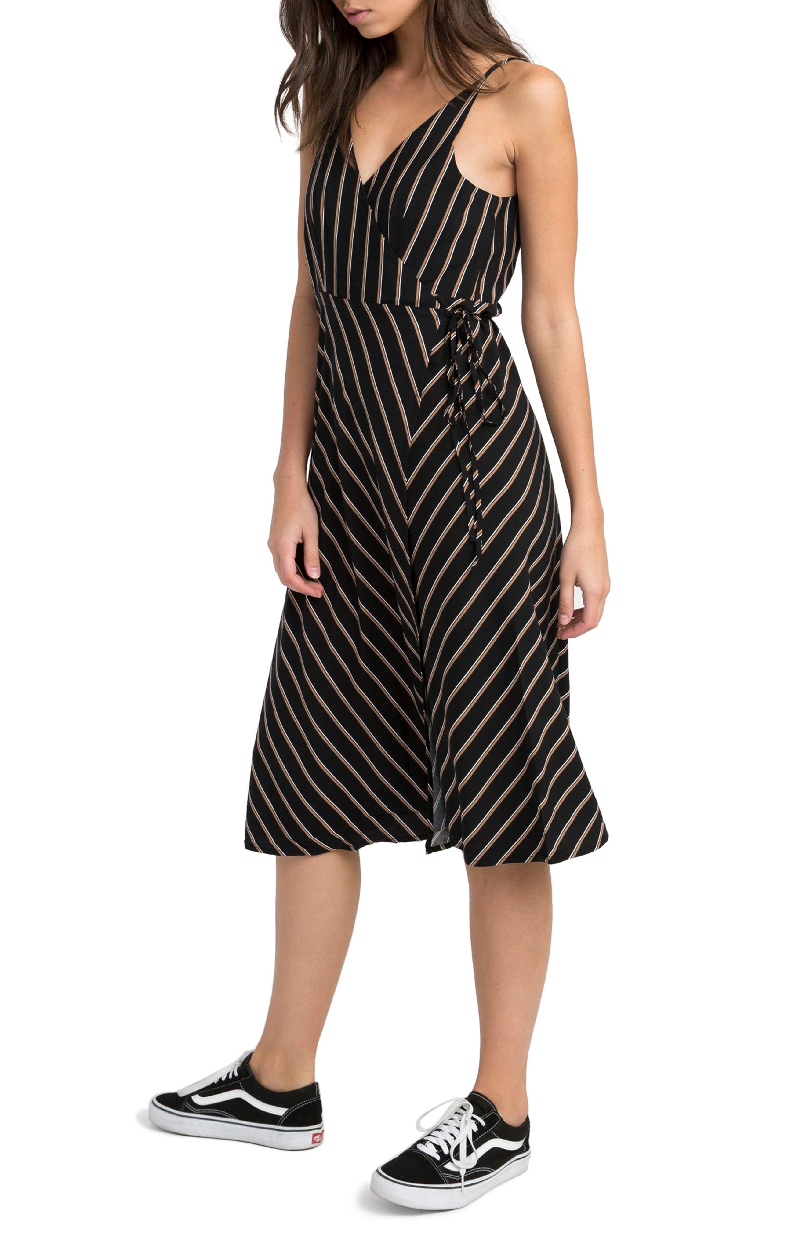 Dat Stripe Wrap Dress,                             Alternate thumbnail 3, color,                             Black