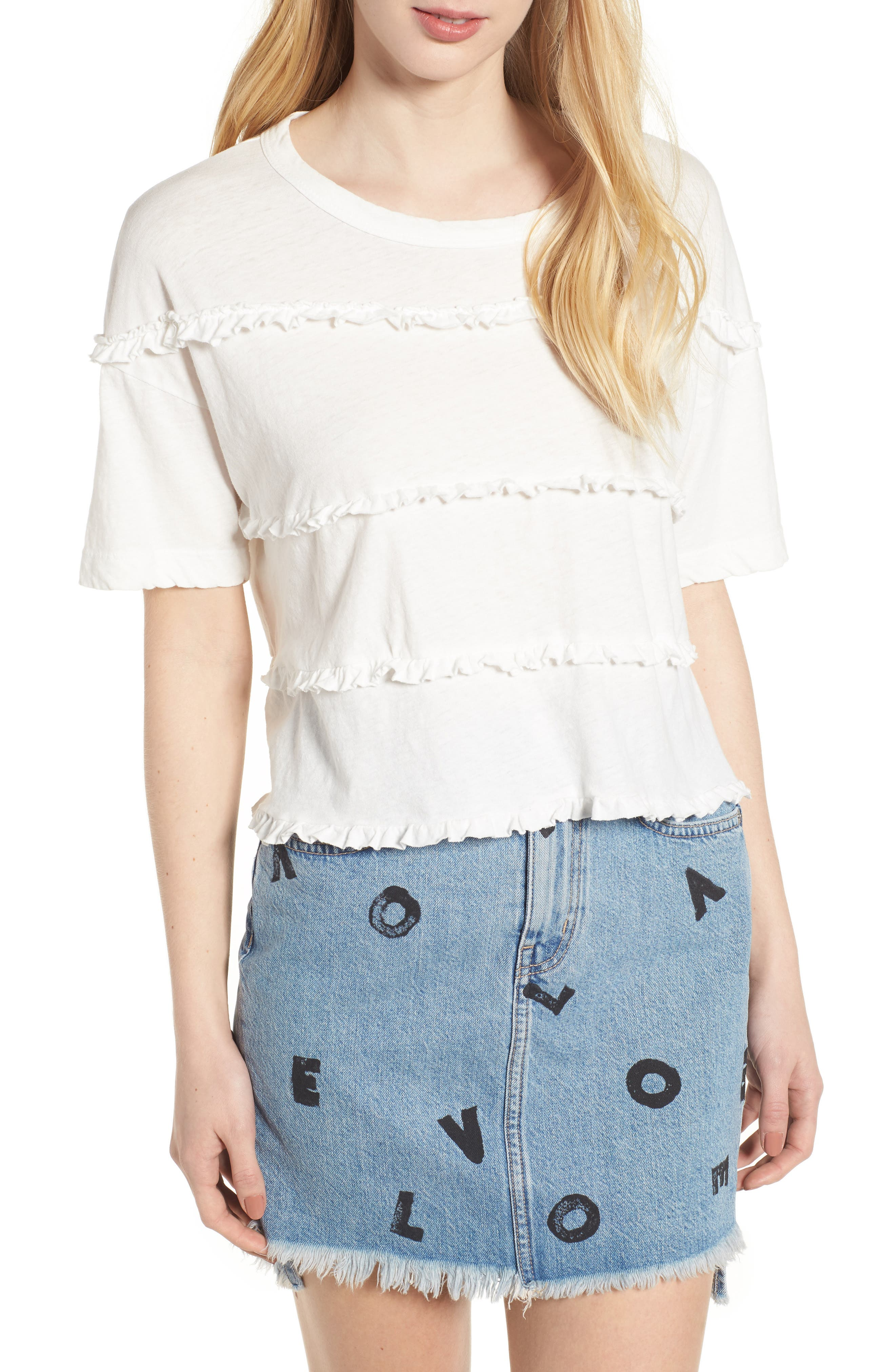 The Claudia Ruffle Tee,                         Main,                         color, Star White