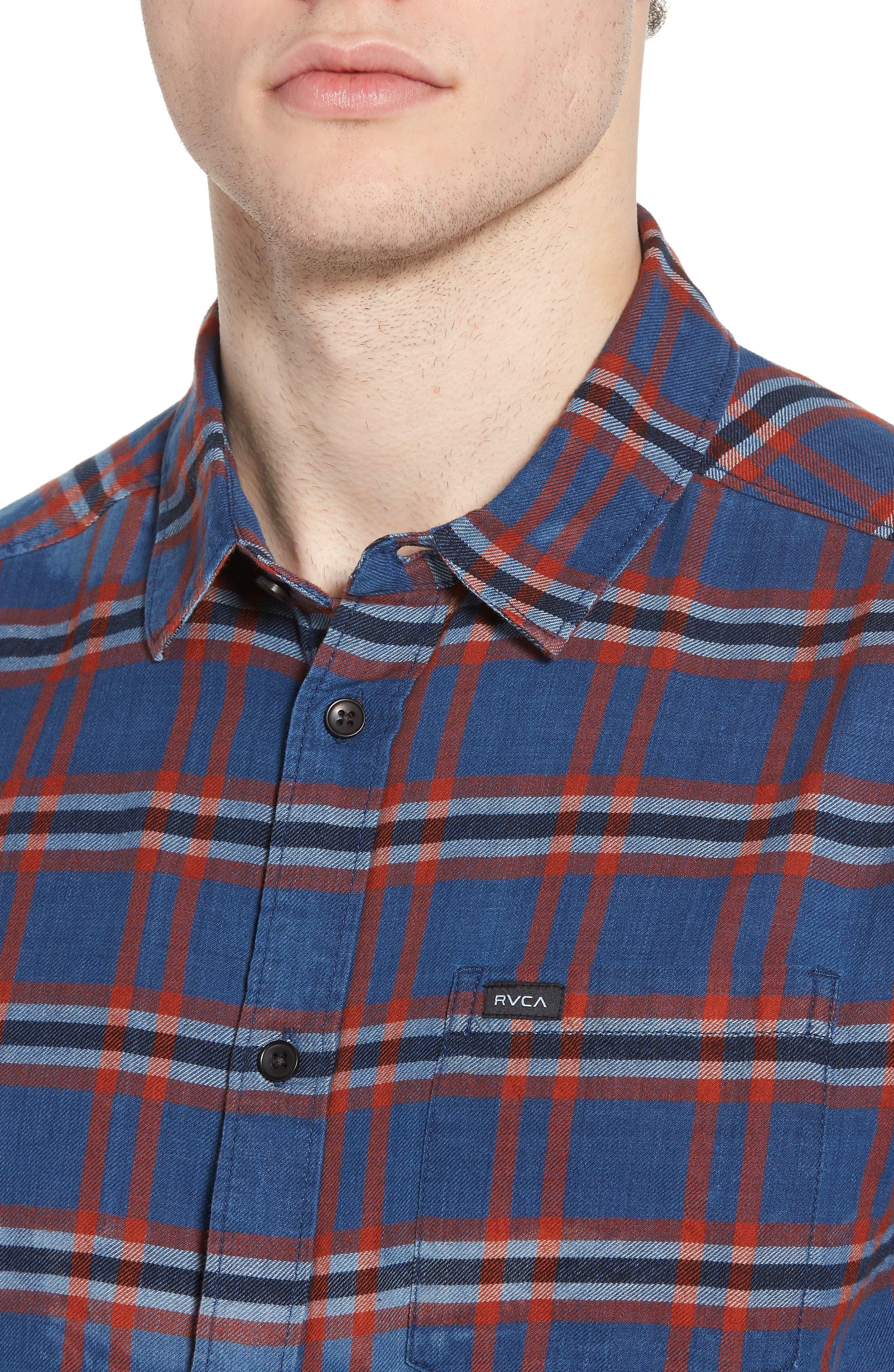 Prismatic Check Woven Shirt,                             Alternate thumbnail 4, color,                             Indigo Bleach