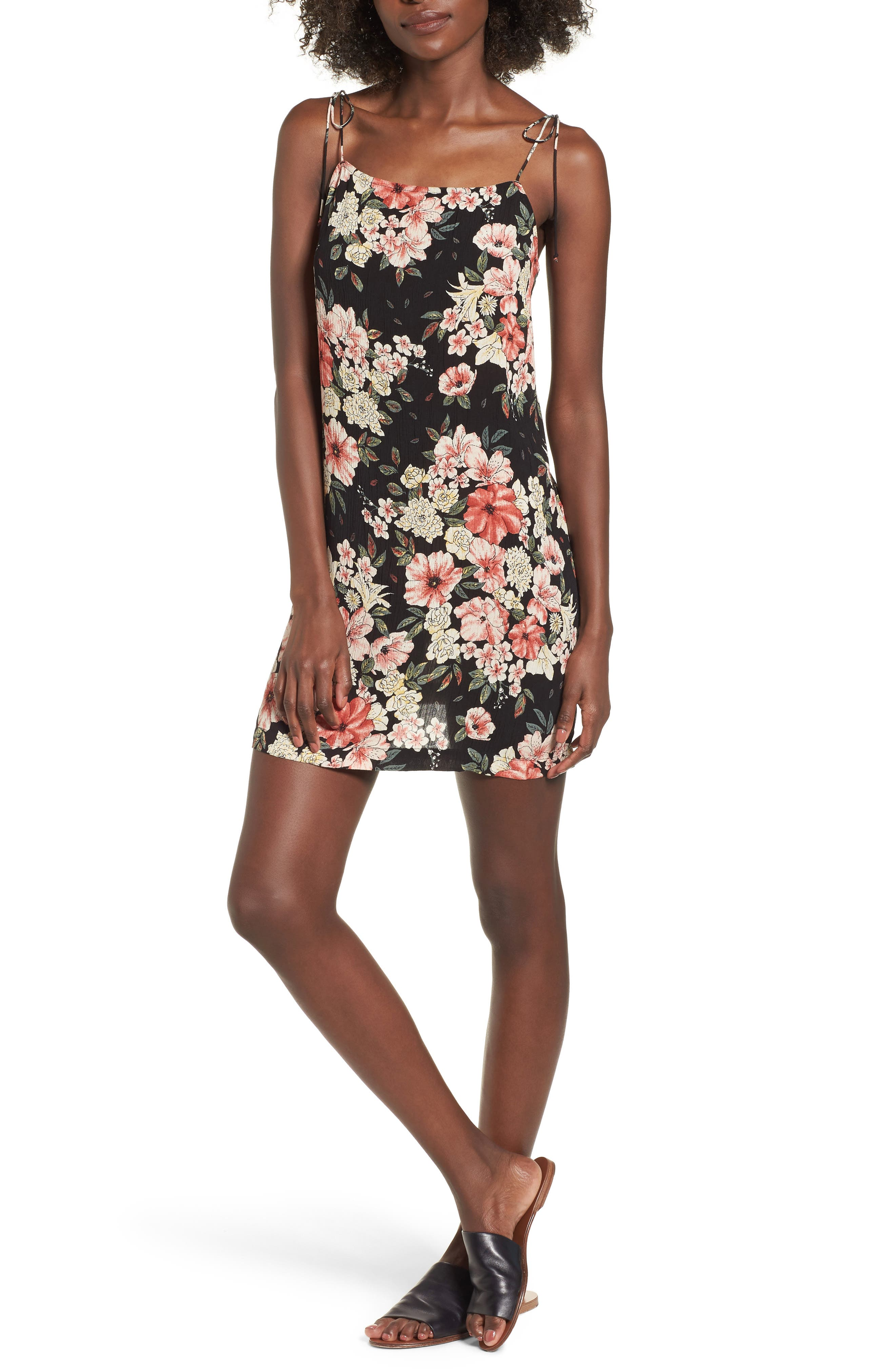Nights Out Floral Slipdress,                             Main thumbnail 1, color,                             Black
