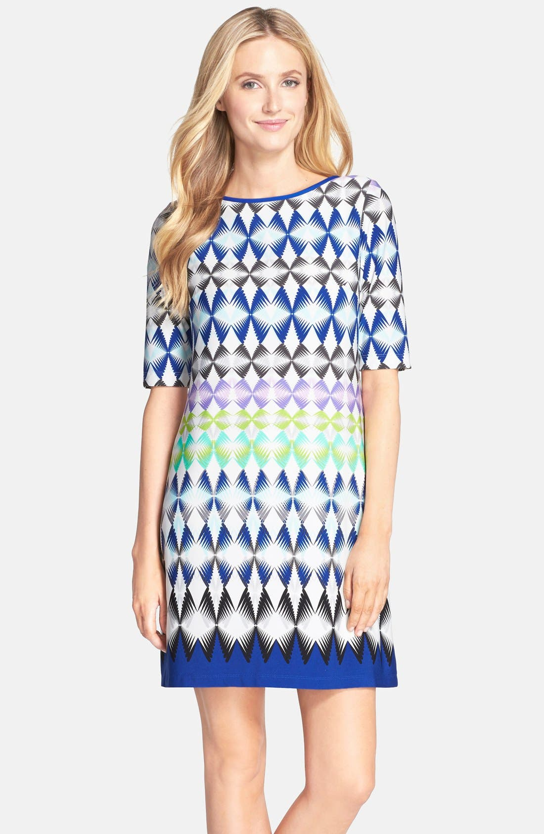 Alternate Image 1 Selected - Eliza J Print Jersey Shift Dress (Regular & Petite)