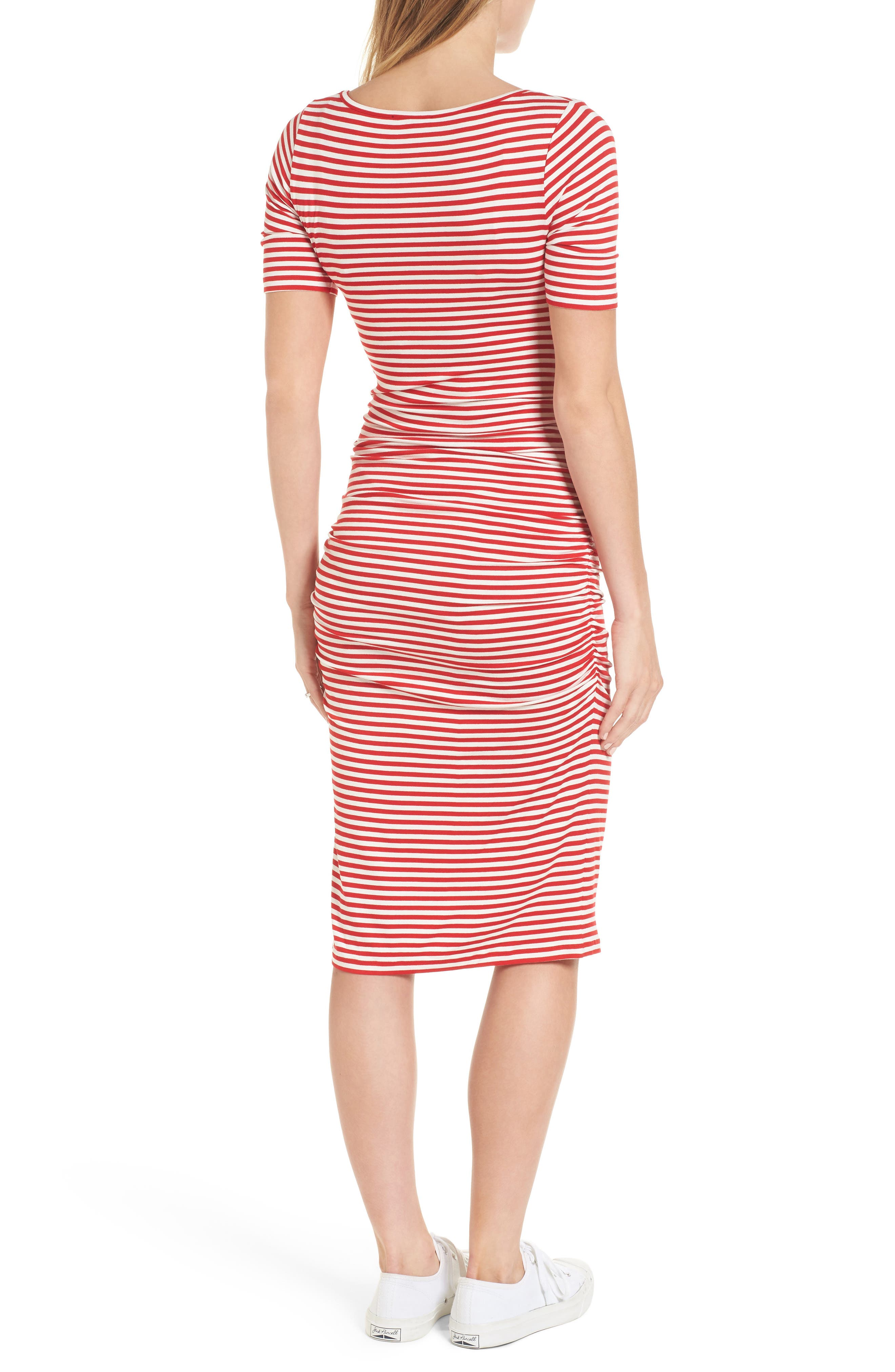 Jenna Stripe Maternity T-Shirt Dress,                             Alternate thumbnail 2, color,                             Red/Off White Stripe