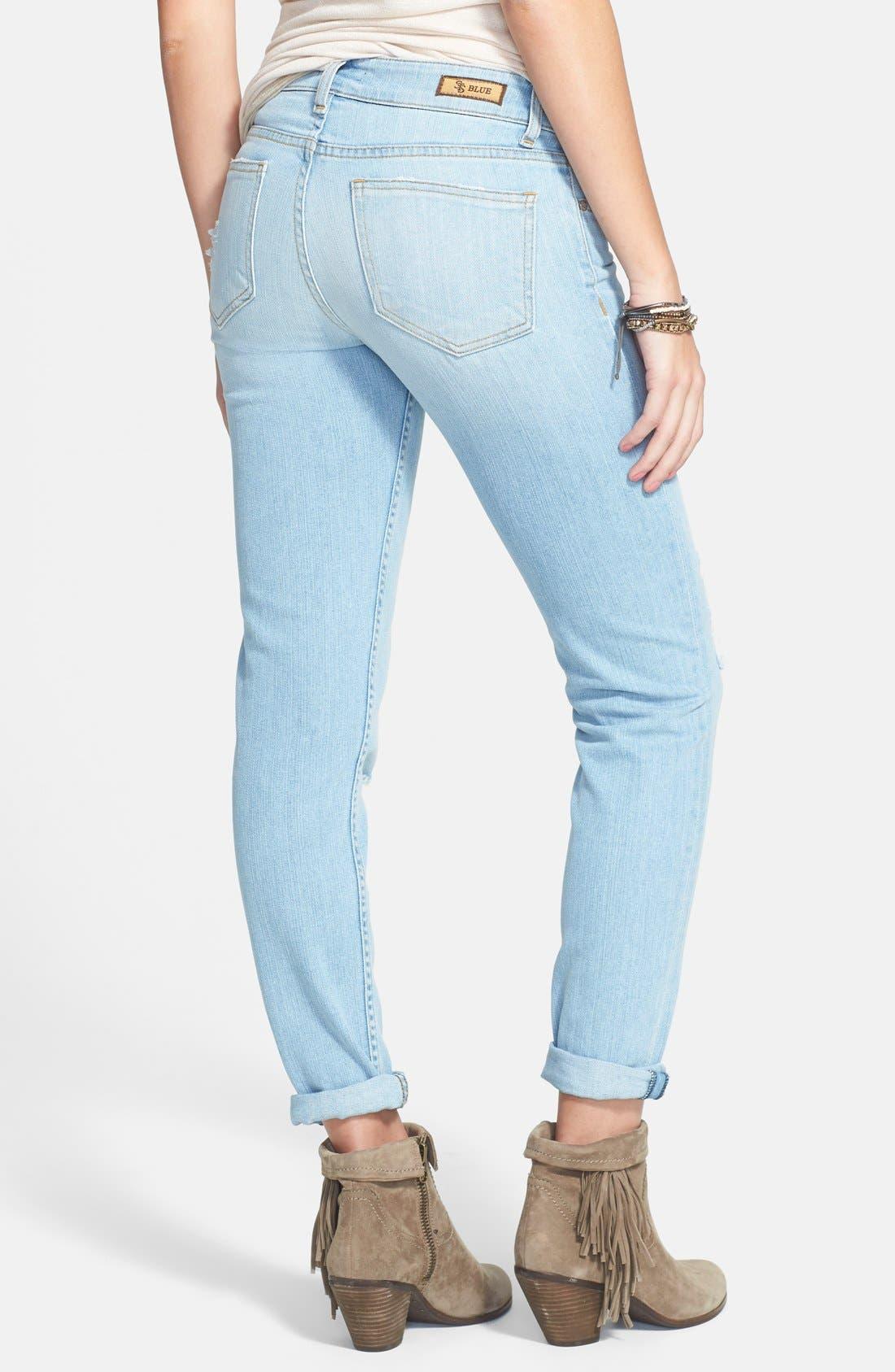 Alternate Image 2  - STS Blue 'Joey' Boyfriend Jeans (Light Wash)