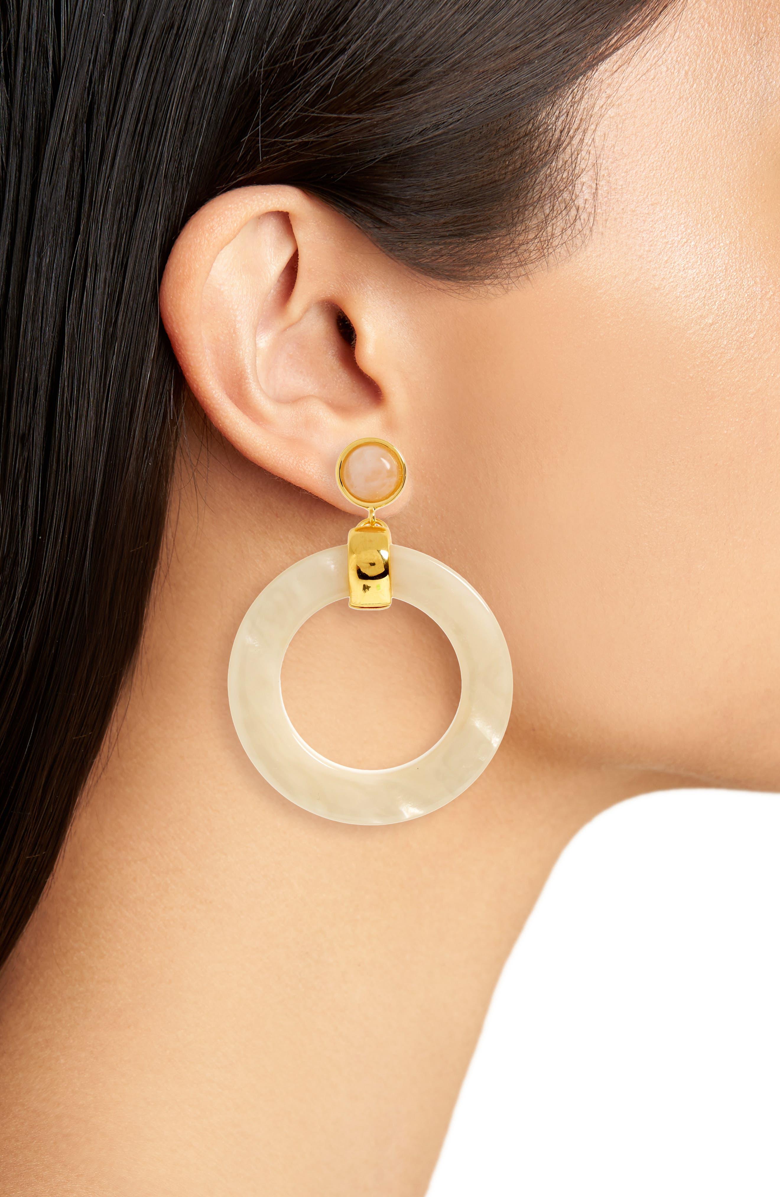 Sun Bleached Hoop Earrings,                             Alternate thumbnail 2, color,                             White