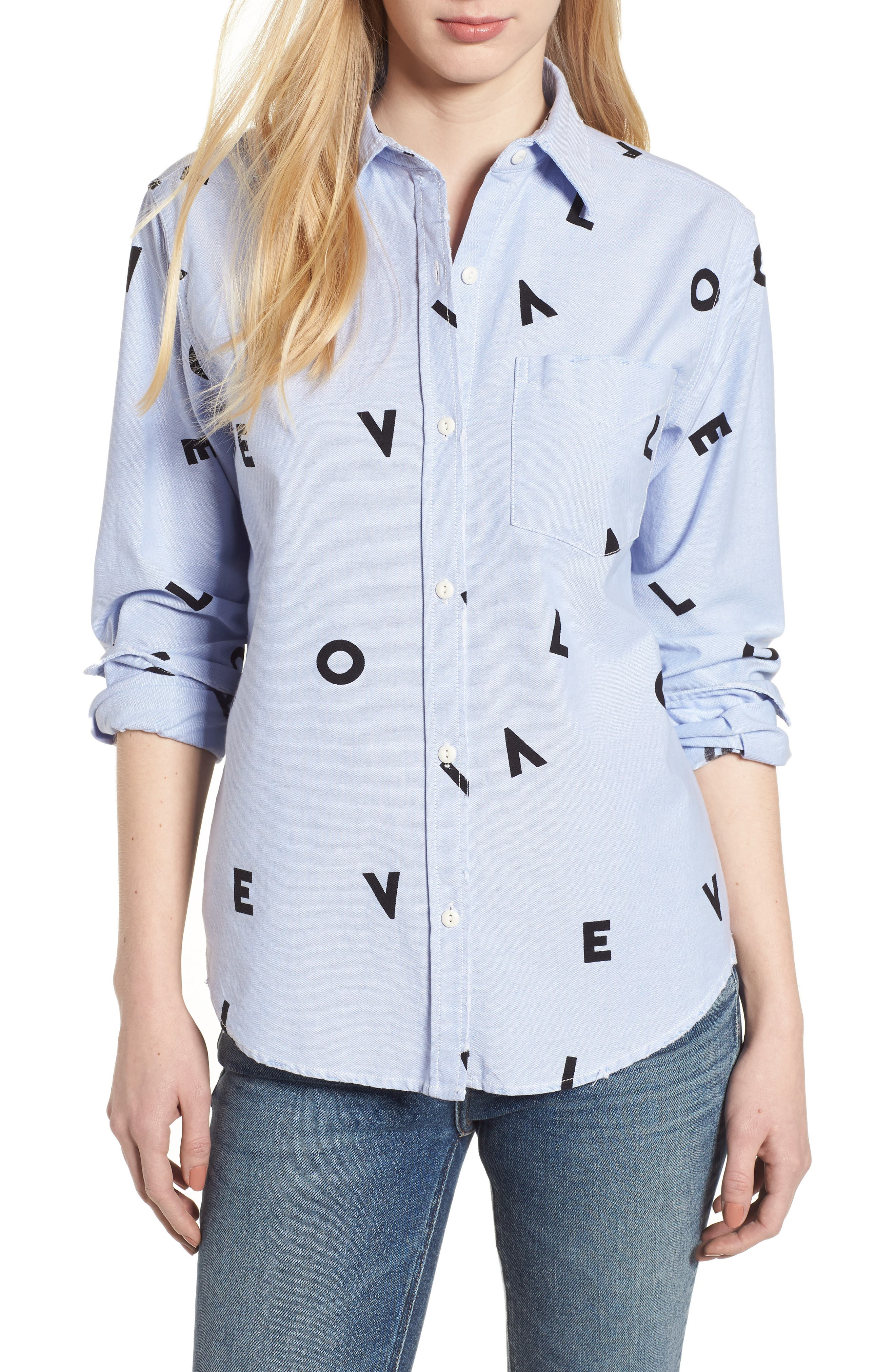 The Derby Love Print Shirt,                         Main,                         color, Oxford With Love
