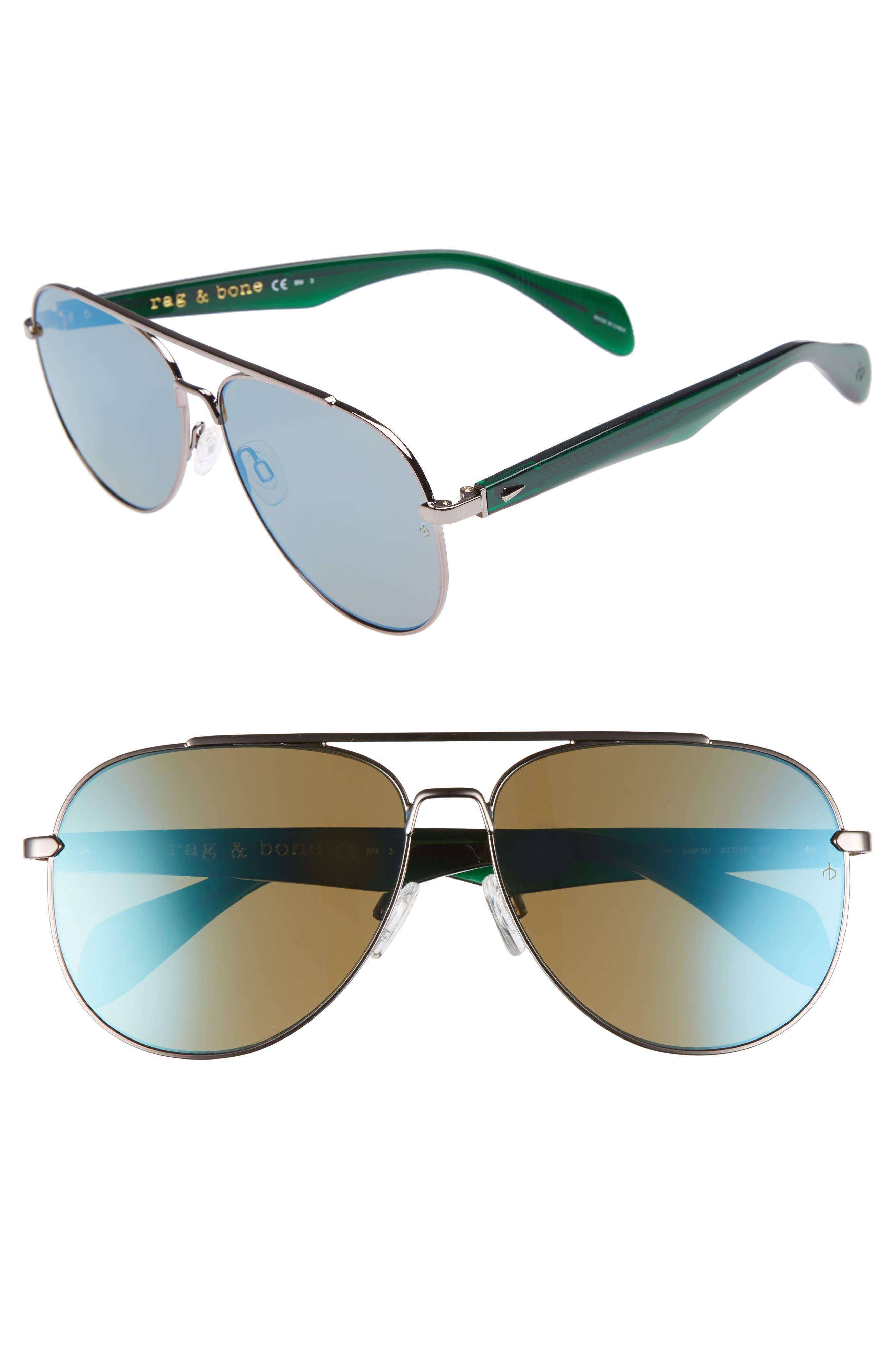 62mm Mirrored Aviator Sunglasses,                             Main thumbnail 1, color,                             Ruthenium Khaki/ Blue