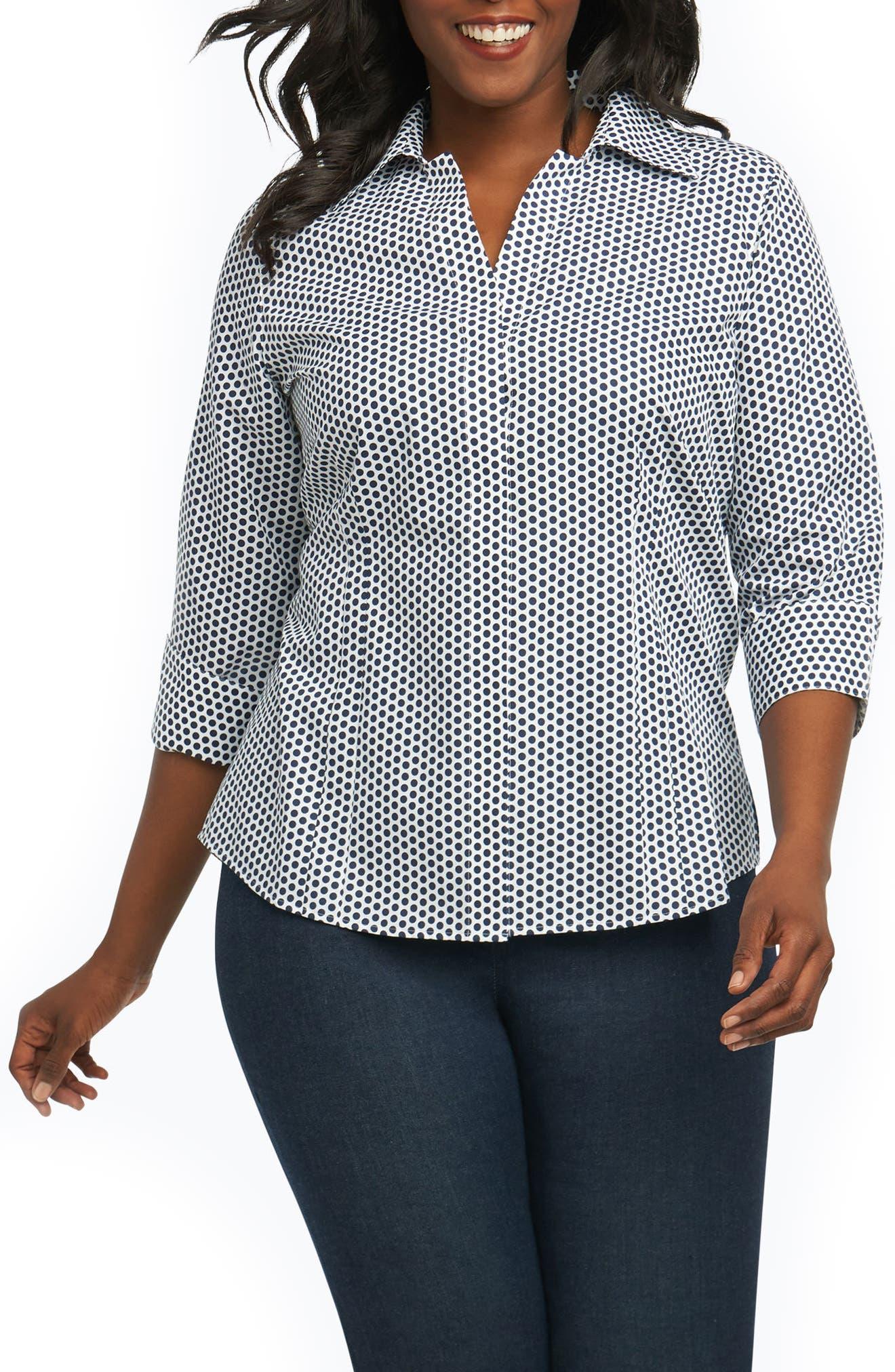 Foxcroft Taylor Optic Dot Non Iron Cotton Shirt (Plus Size)