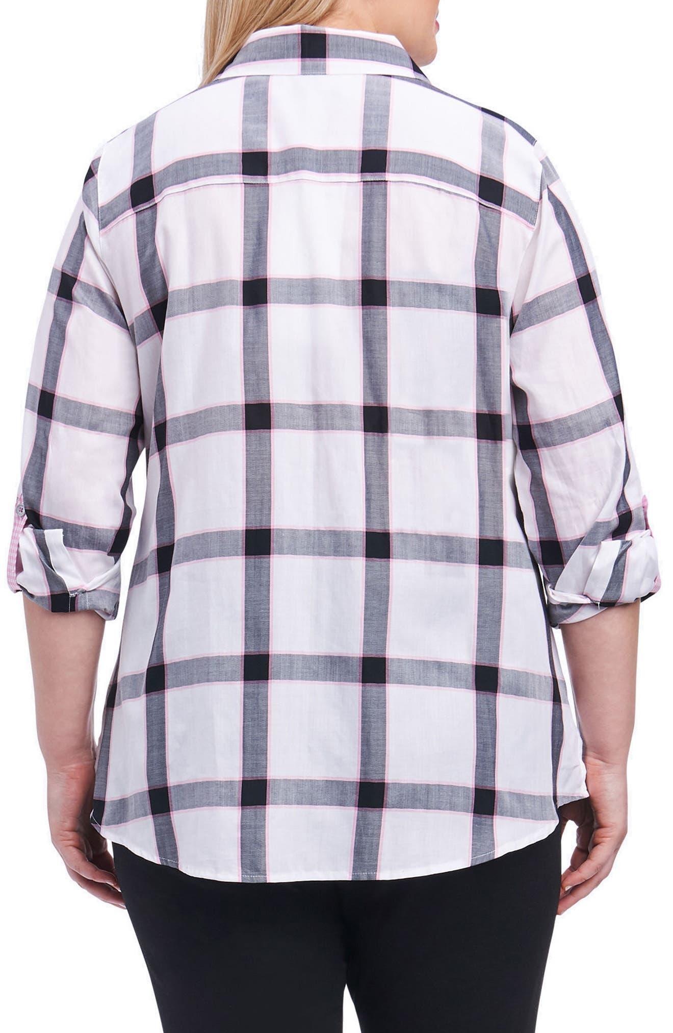 Alternate Image 2  - Foxcroft Zoey Herringbone Plaid Shirt (Plus Size)