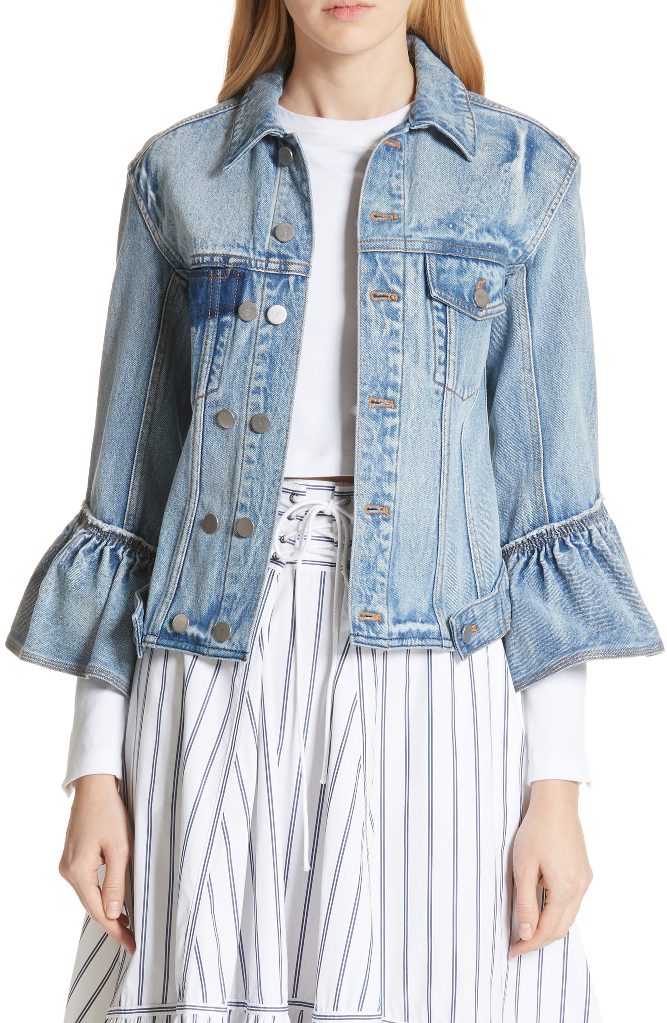 3.1 Phillip Lim Ruffle Cuff Denim Jacket