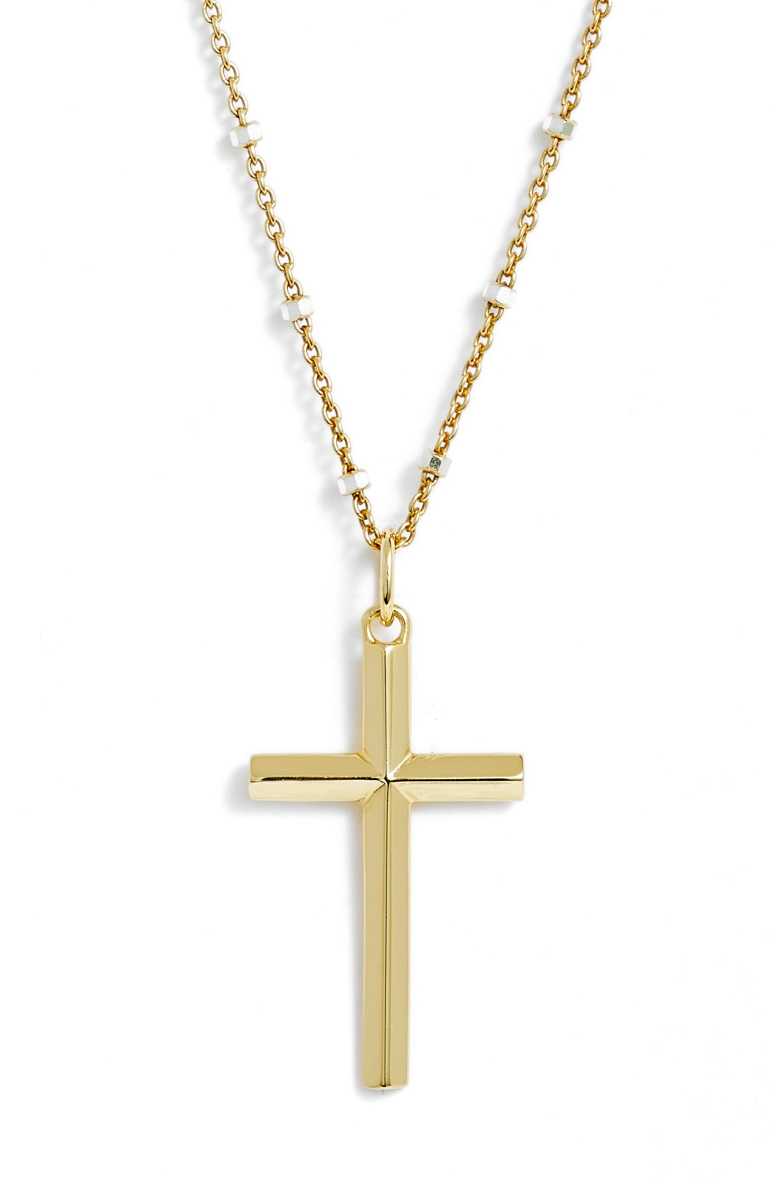 Two-Tone Cross Pendant Necklace,                             Main thumbnail 1, color,                             Gold/ Silver