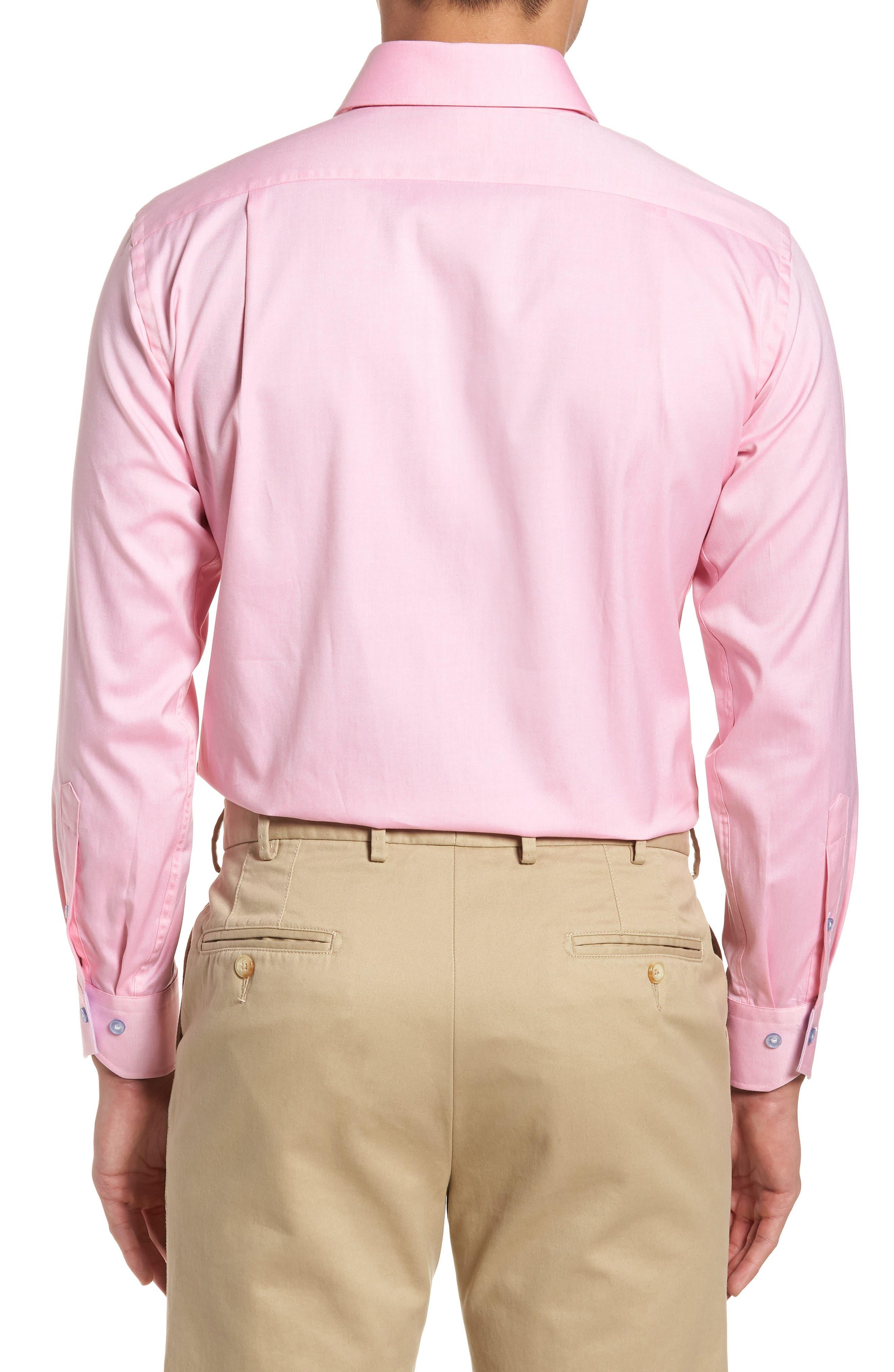 Trim Fit Oxford Dress Shirt,                             Alternate thumbnail 3, color,                             Pink