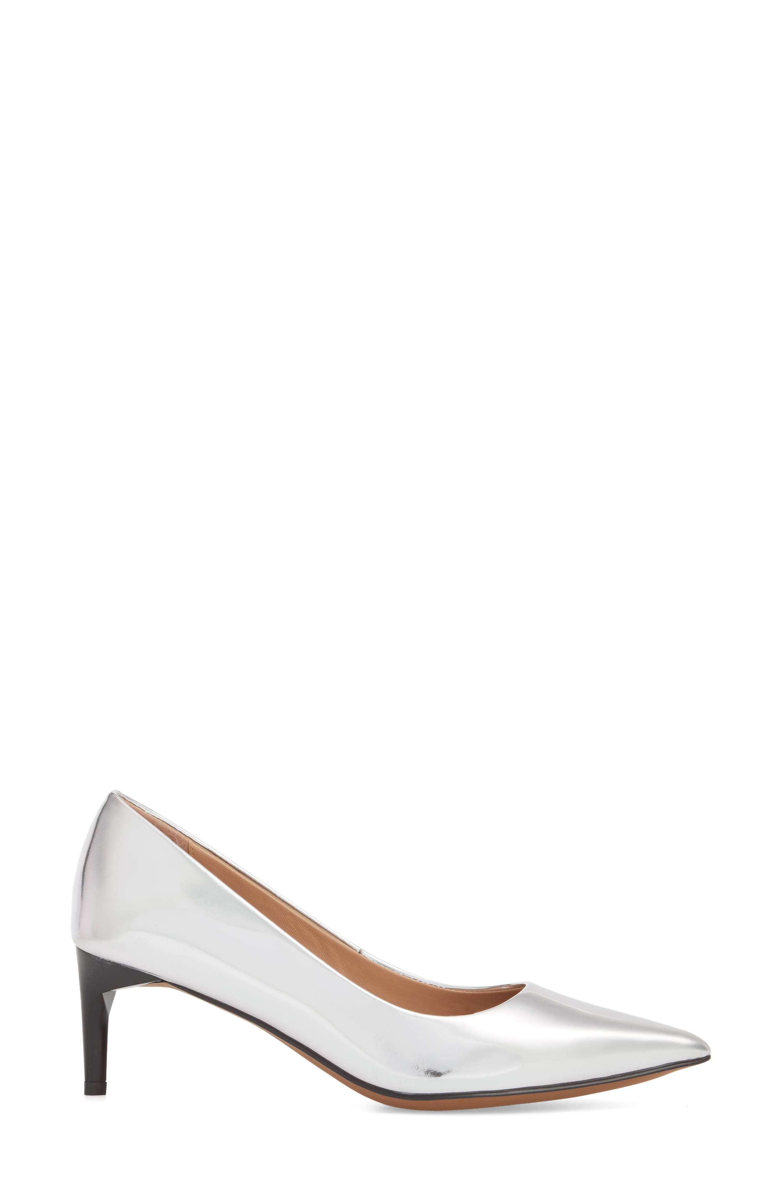 Petra Pointy Toe Pump,                             Alternate thumbnail 3, color,                             Silver Leather