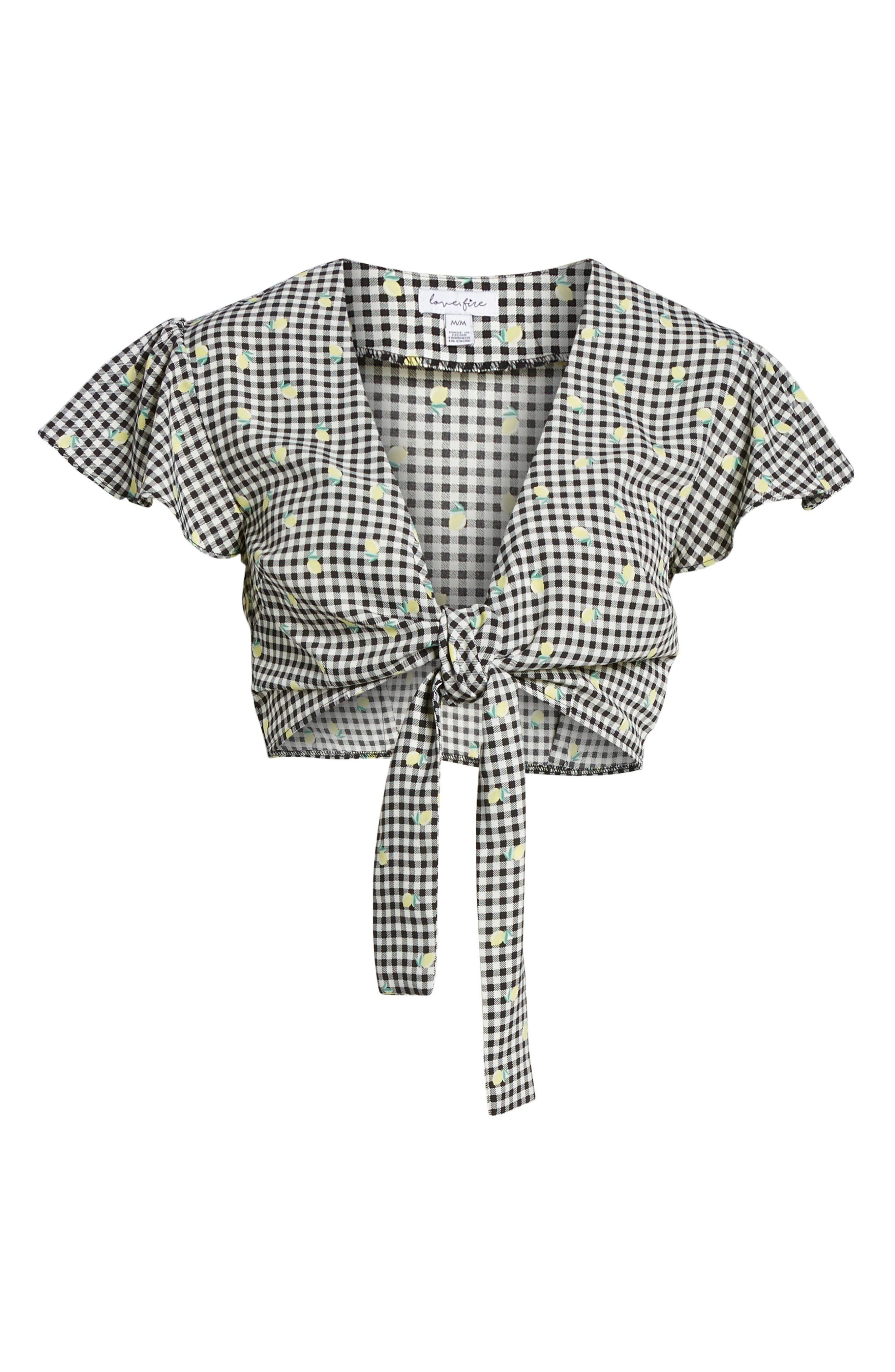 Gingham Tie Front Crop Top,                             Alternate thumbnail 7, color,                             Gingham Lemon Print