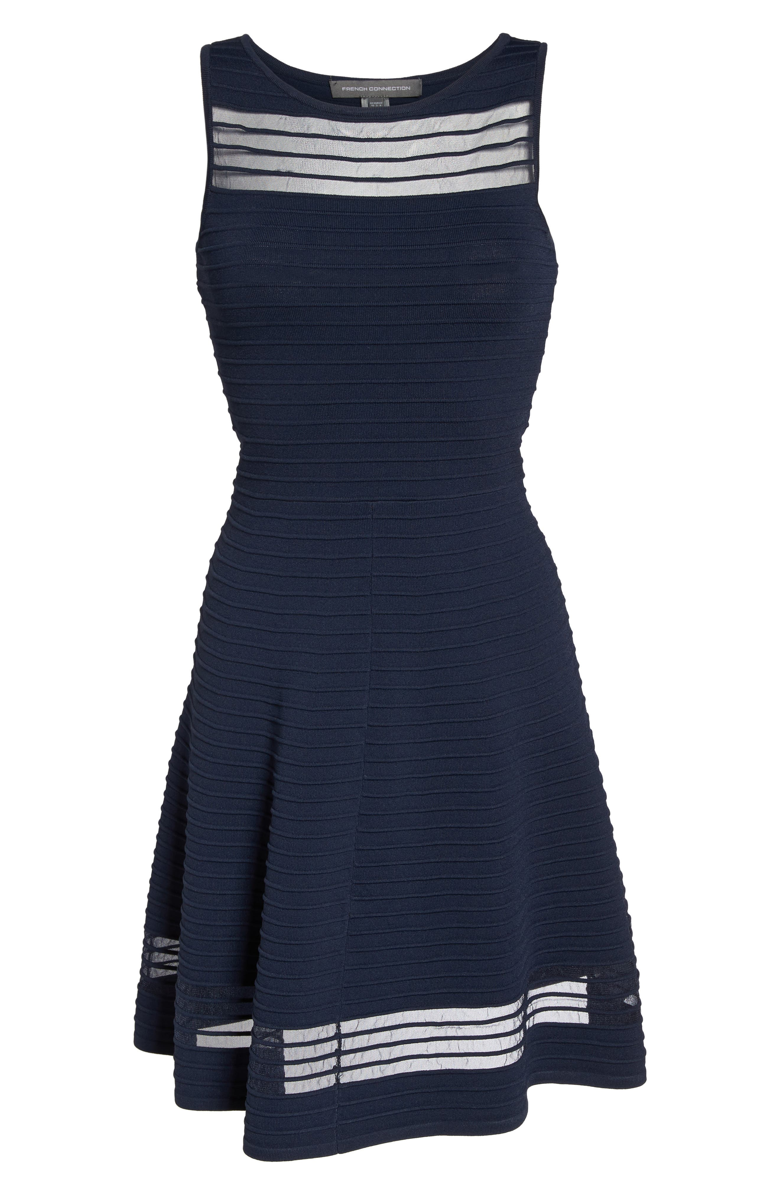 Tobey Fit & Flare Sweater Dress,                             Alternate thumbnail 5, color,                             Nocturnal