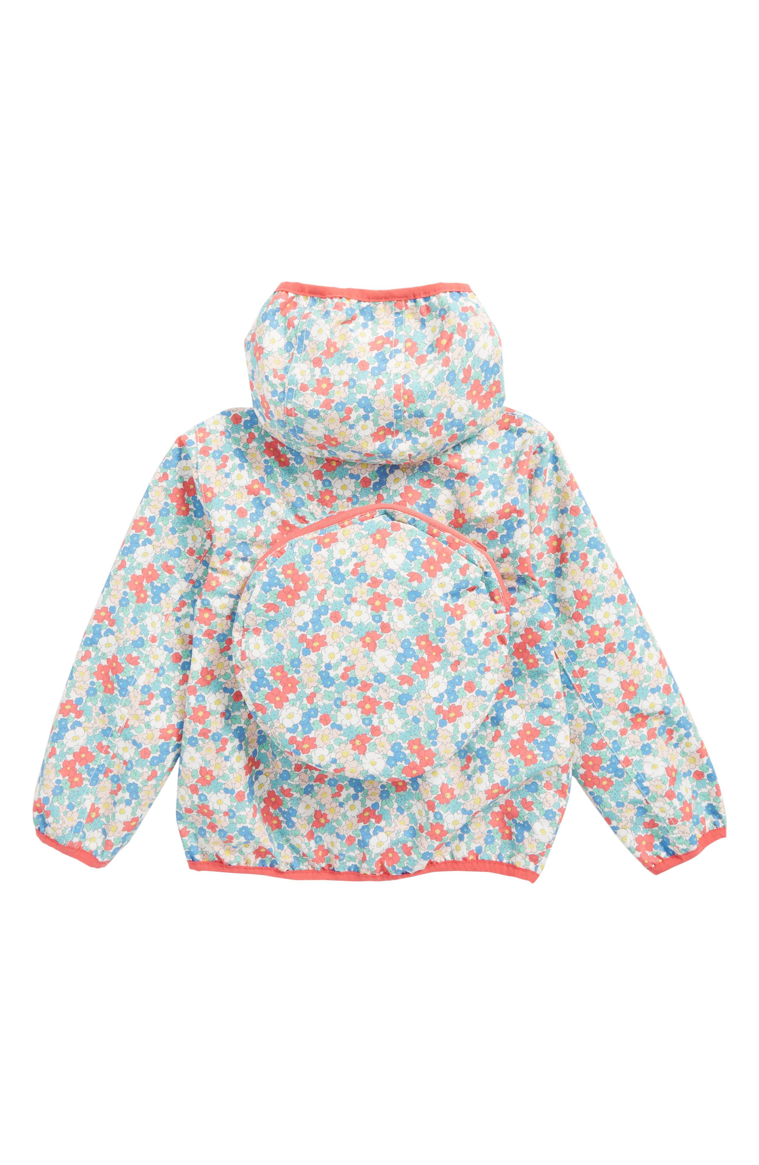 Packaway Waterproof Jacket,                             Alternate thumbnail 2, color,                             Strawberry Pink Floral