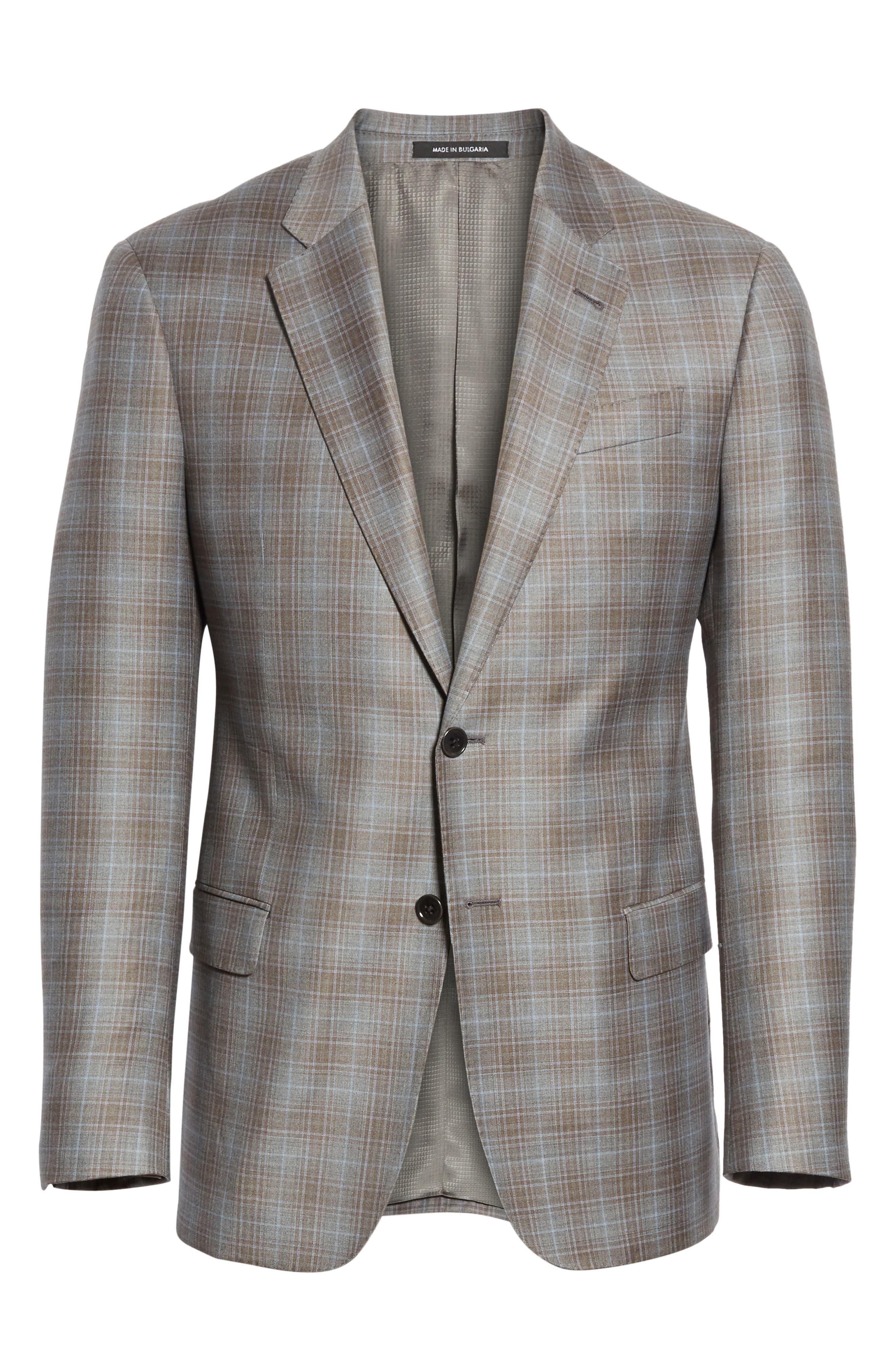 G-Line Trim Fit Plaid Wool Sport Coat,                             Alternate thumbnail 6, color,                             Tan