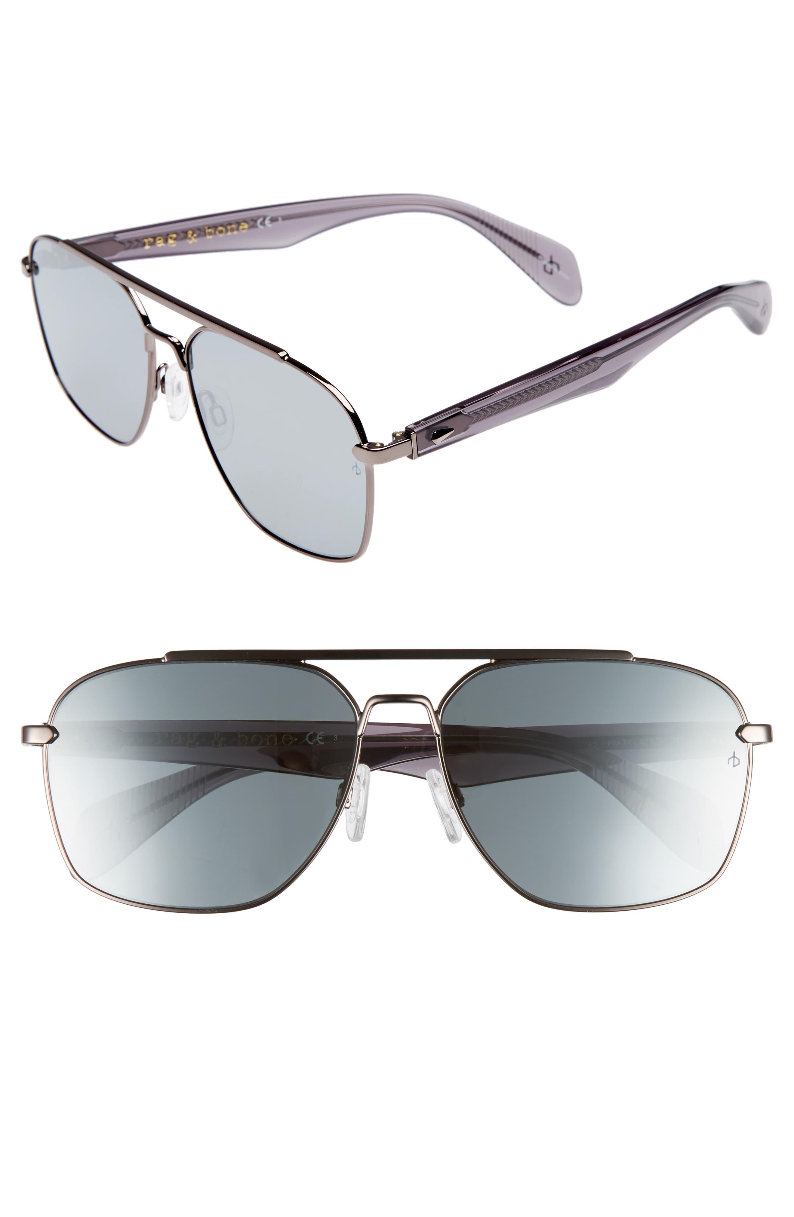 60mm Mirrored Navigator Sunglasses,                         Main,                         color, Matte Ruthenium/ Grey