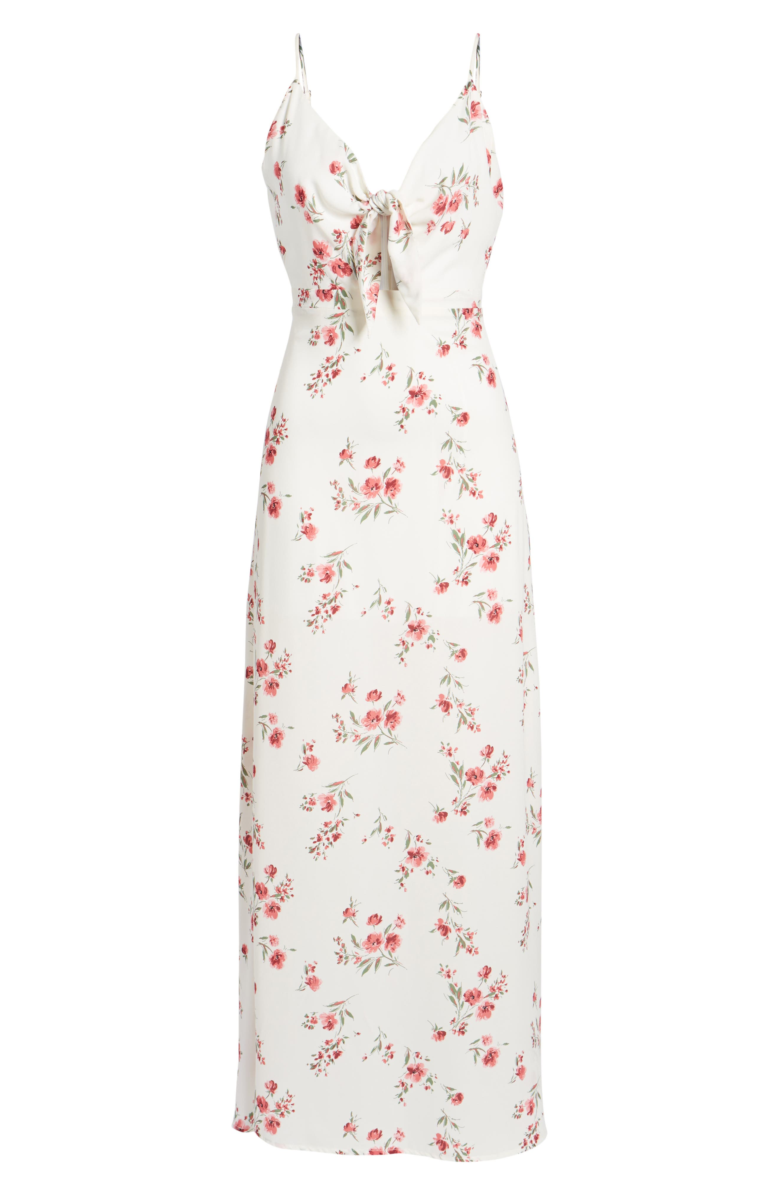 Tie Front Maxi Dress,                             Alternate thumbnail 7, color,                             Ivory Floral