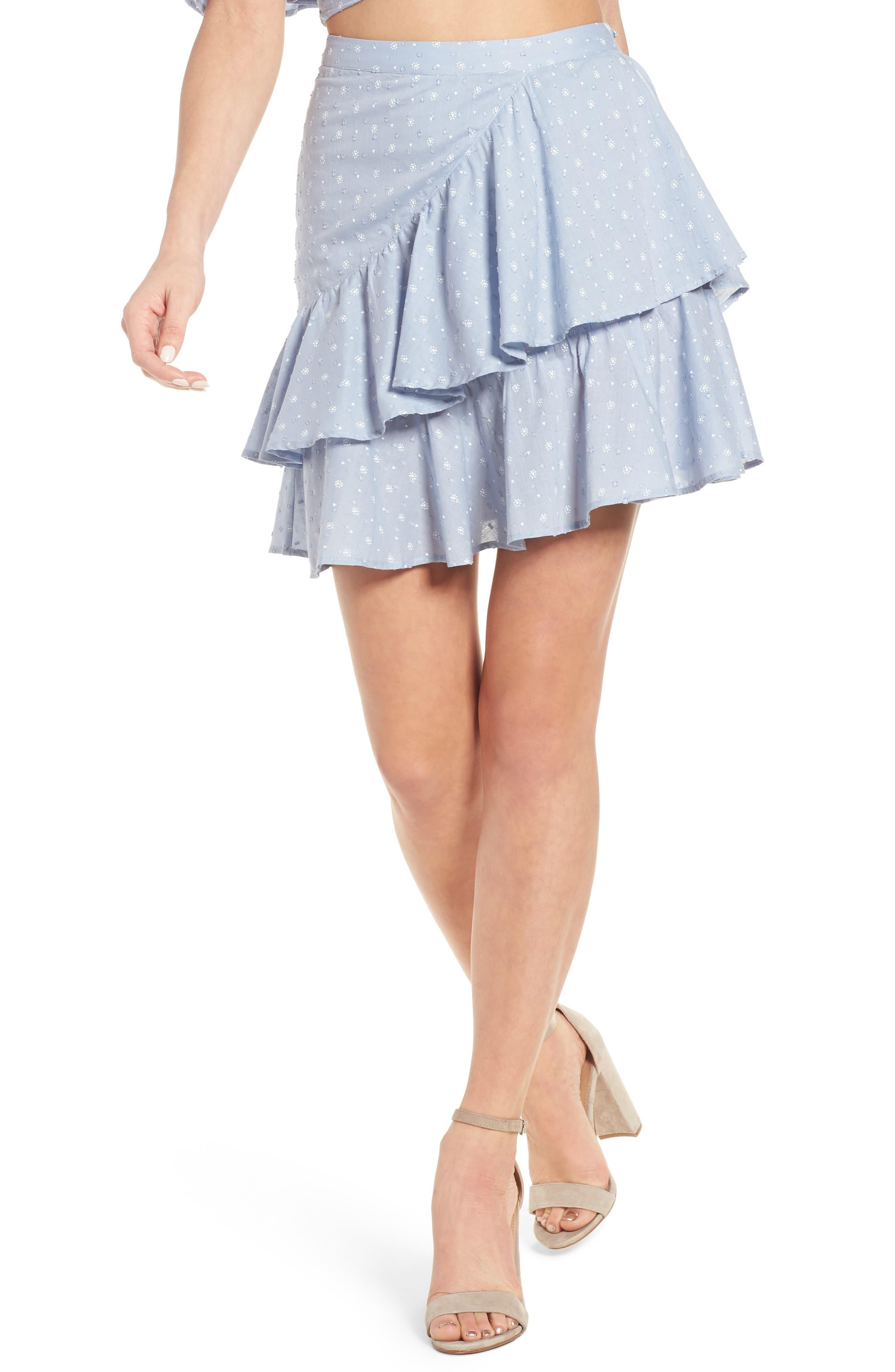 Mara Ruffled Miniskirt,                         Main,                         color, Sail Blue